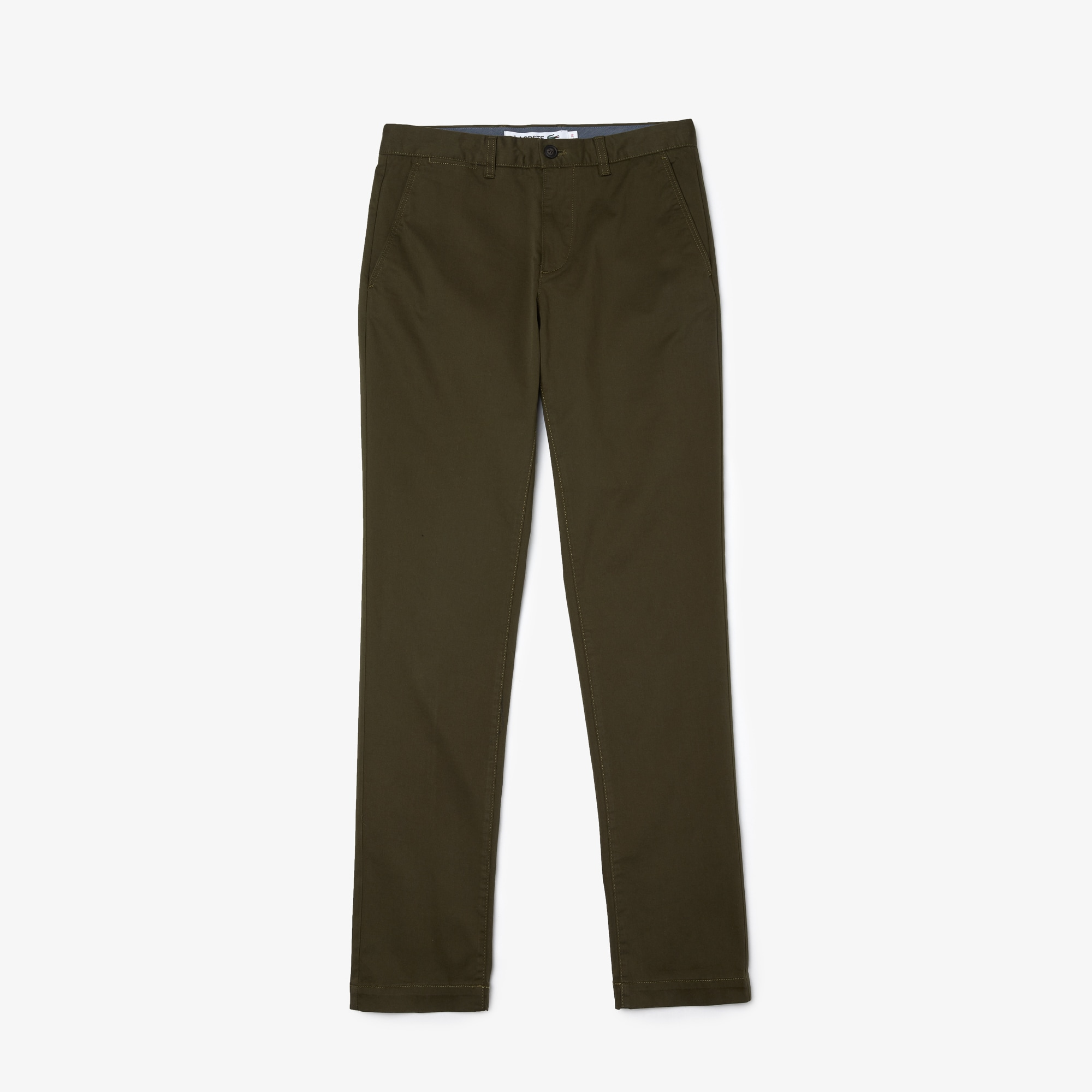 라코스테 Lacoste Mens Slim Fit Stretch Gabardine Chino Pants,khaki green