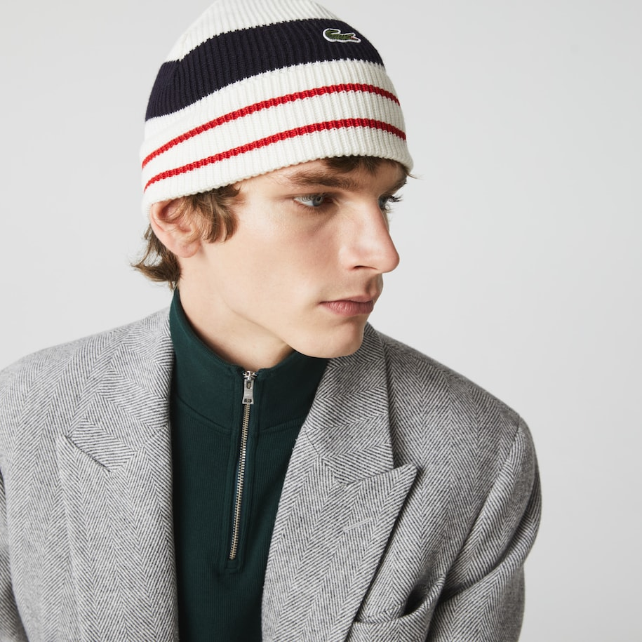 Men's Made in France Striped Ribbed Wool Beanie