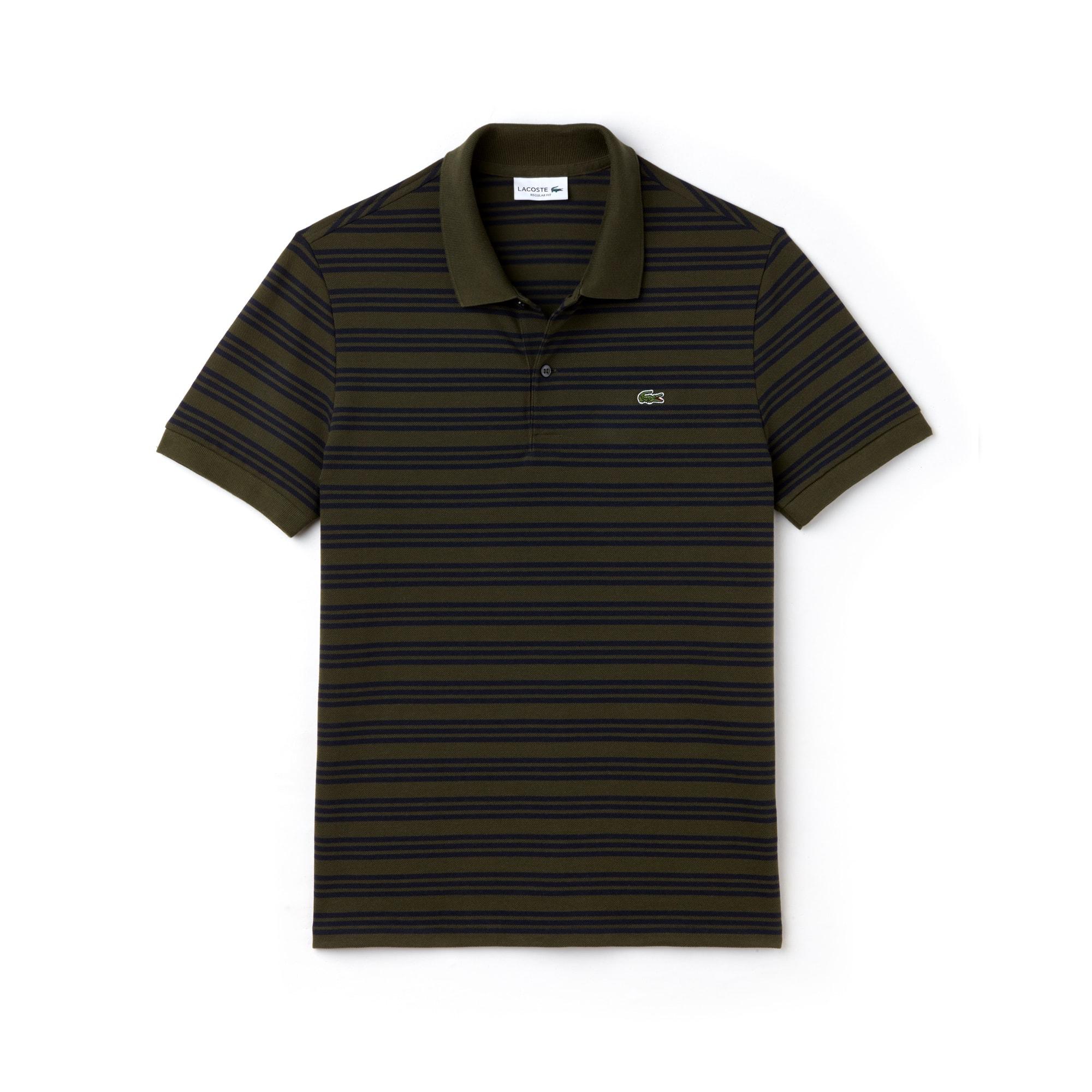 26089566 Men's Regular Fit Striped Cotton Petit Piqué Polo | LACOSTE