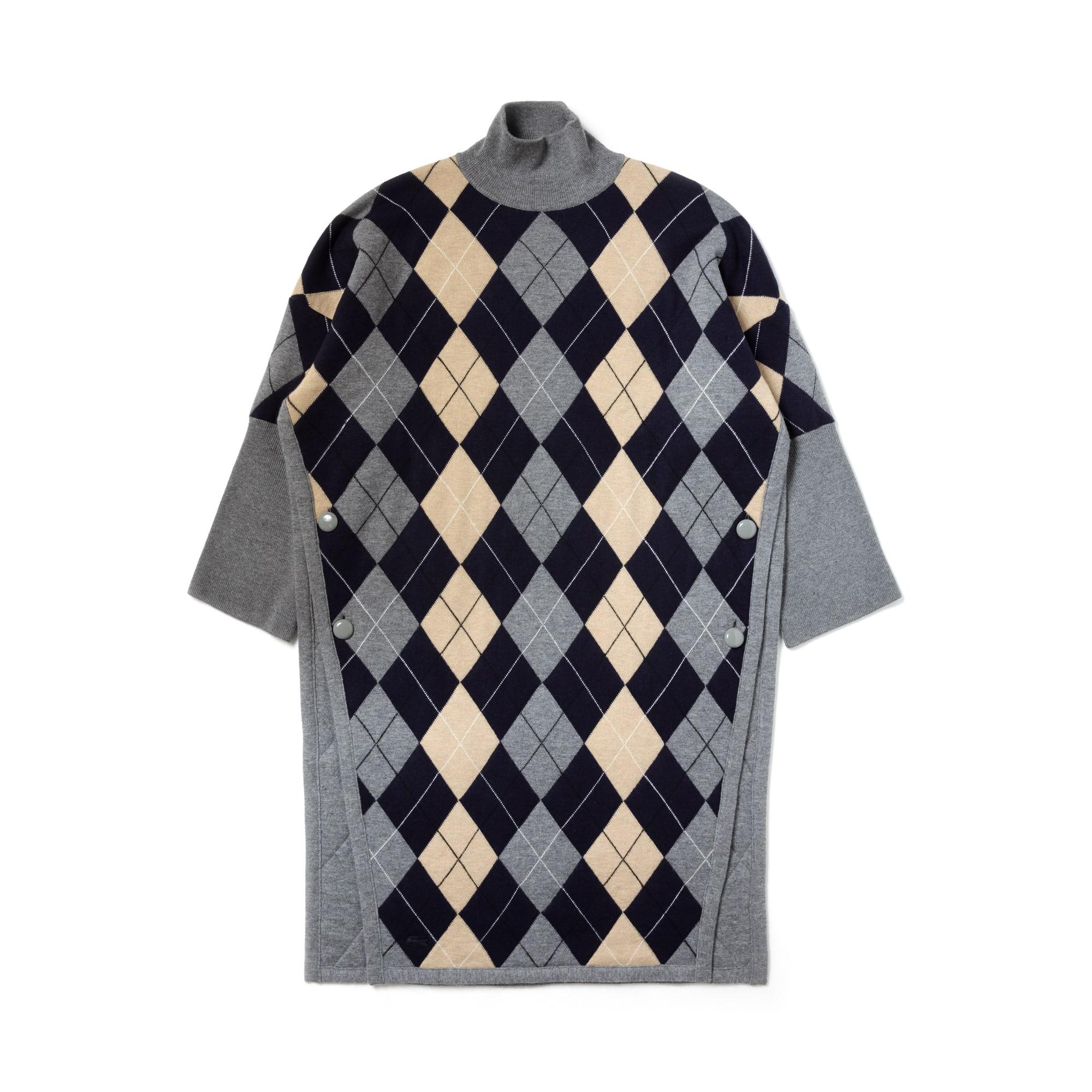 라코스테 Lacoste Womens Fashion Show Argyle Wool Jacquard Poncho Dress,TUAREG/코스 COSMOS-AULNE-FLOUR