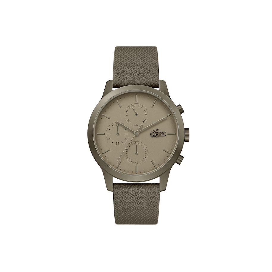 Mens Lacoste.12.12 Watch with Khaki Leather Petit Piqué Strap