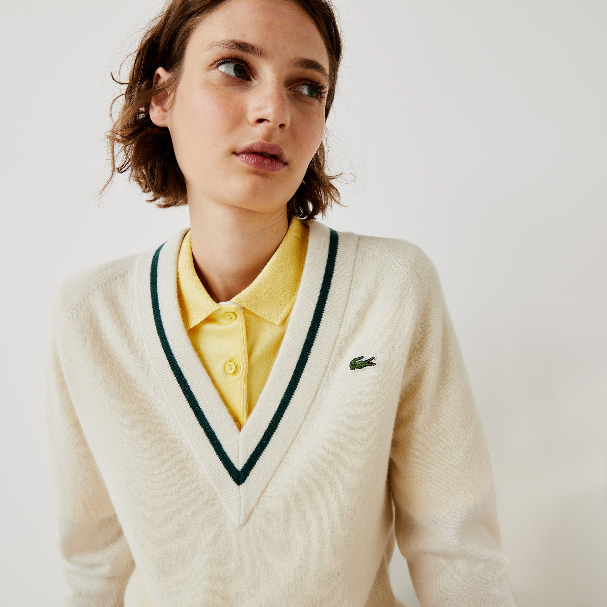 라코스테 스포츠 캐시미어 골프 스웨터 Womens Lacoste SPORT Recycled Cashmere V-neck Golf Sweater