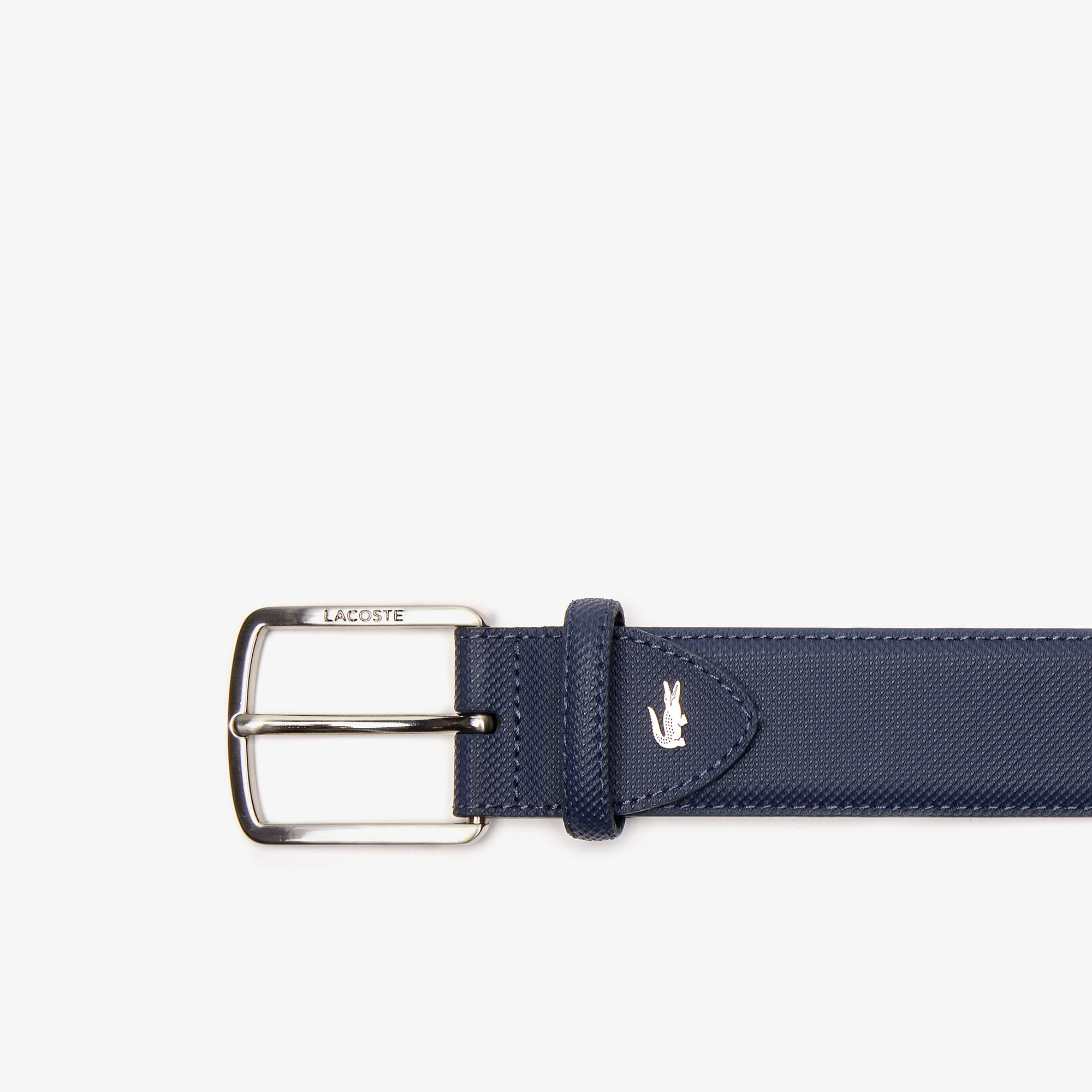 Men's Engraved-Buckle Piqué Canvas Belt