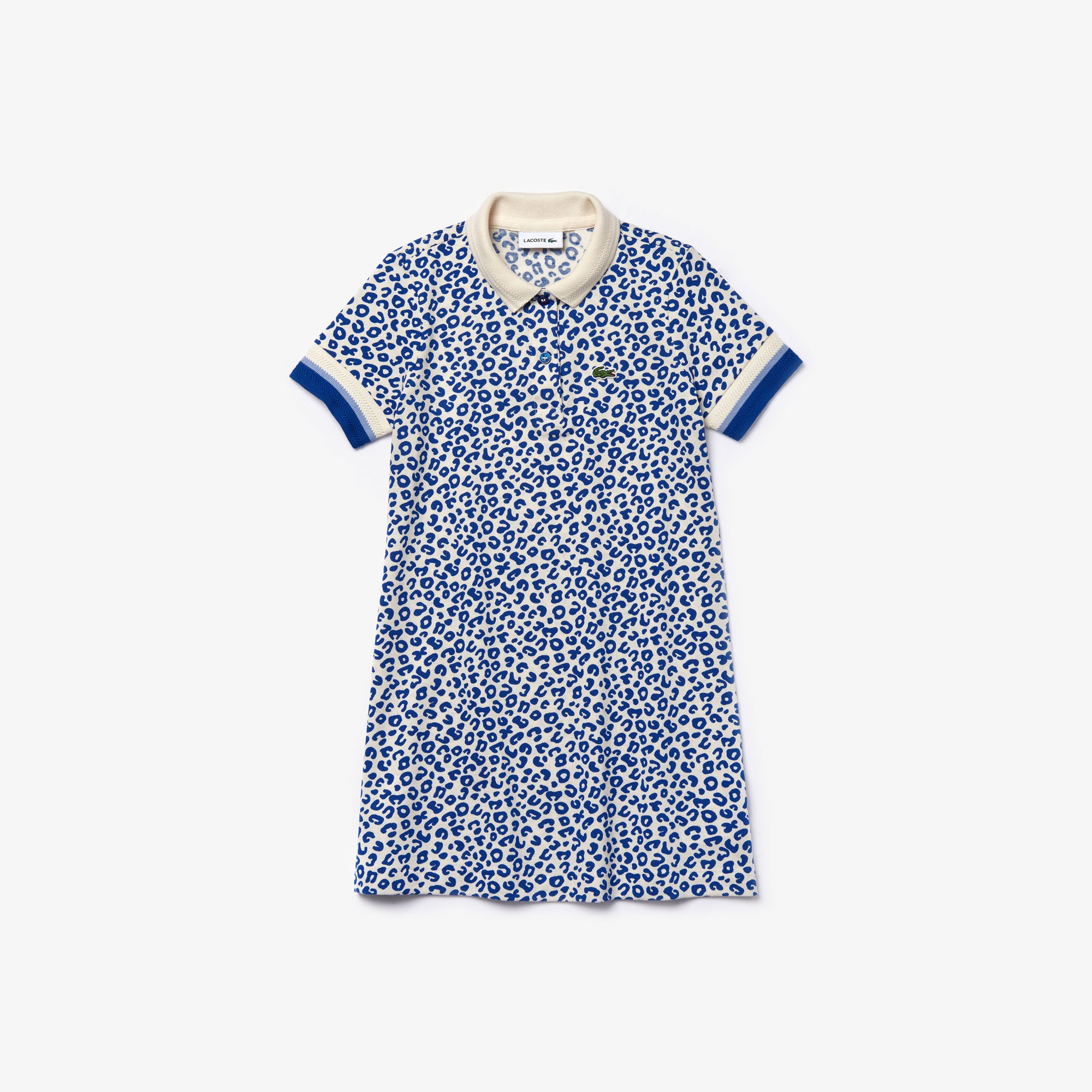라코스테 Lacoste Girls' Leopard Print Cotton Petit Pique Polo Dress,White / Blue • X7Y