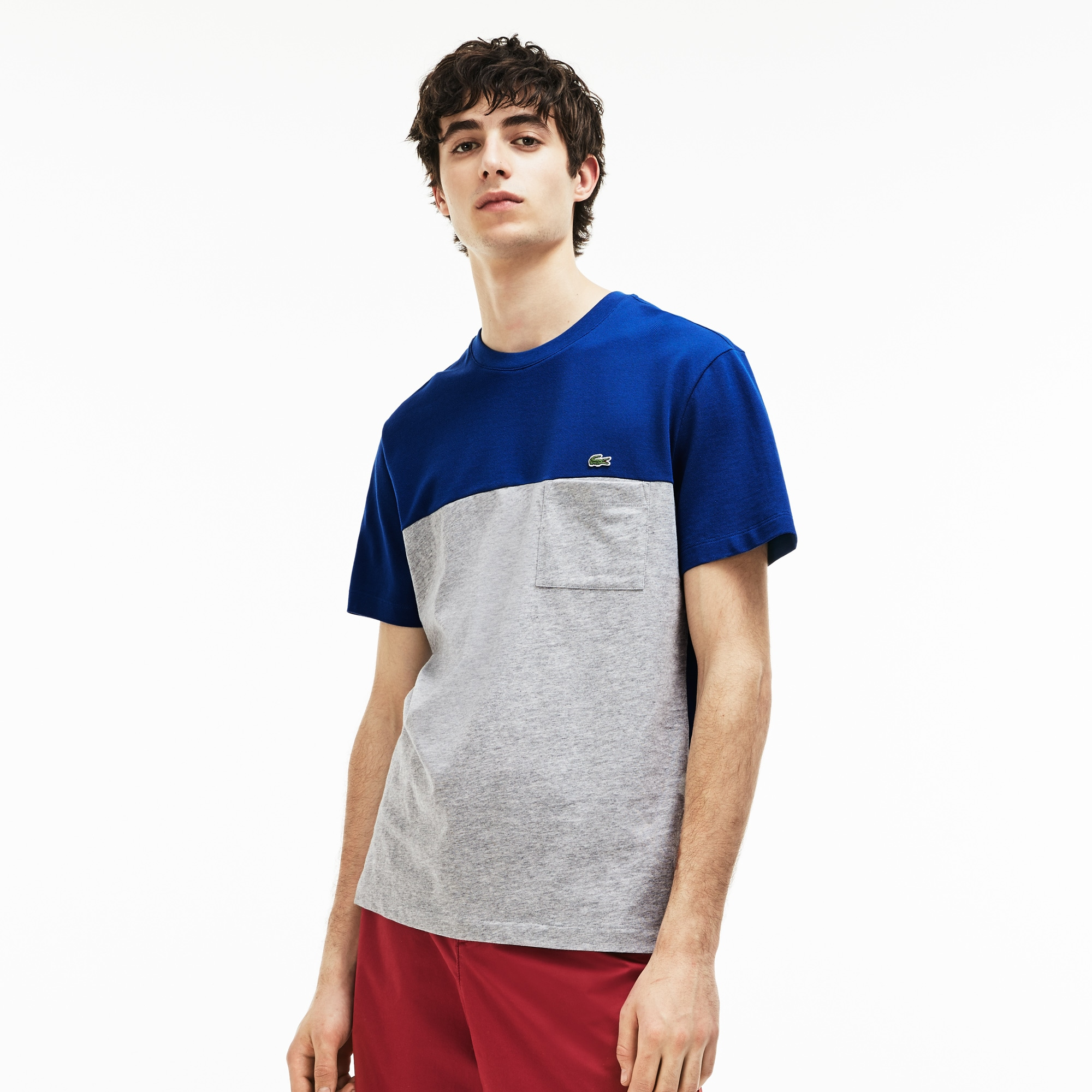 Men's Crew Neck Colorblock Mini Piqué Jersey T-shirt ...