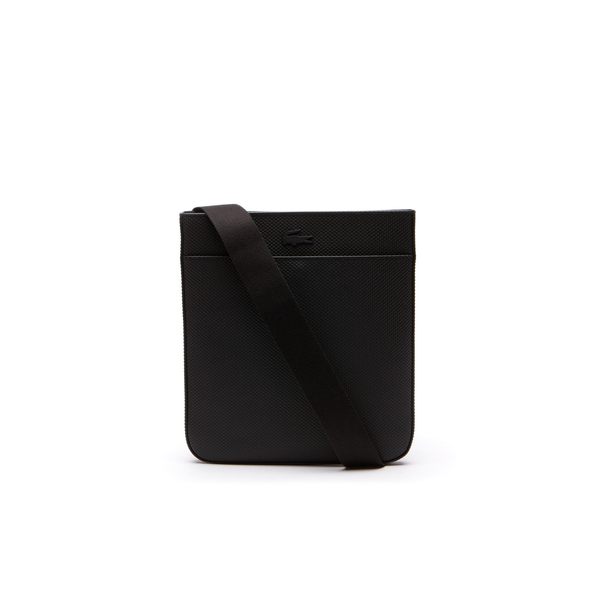라코스테 Lacoste Mens Chantaco Matte Pique Leather Bag,black