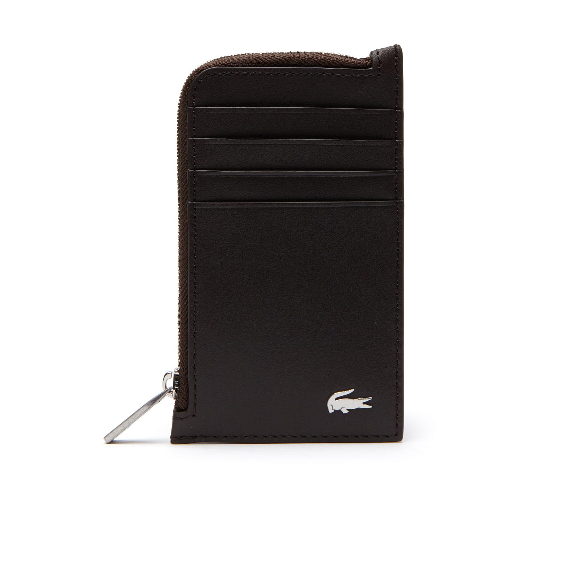 라코스테 카드 지갑 Lacoste Mens Fitzgerald Leather Zip Card Holder,dark brown