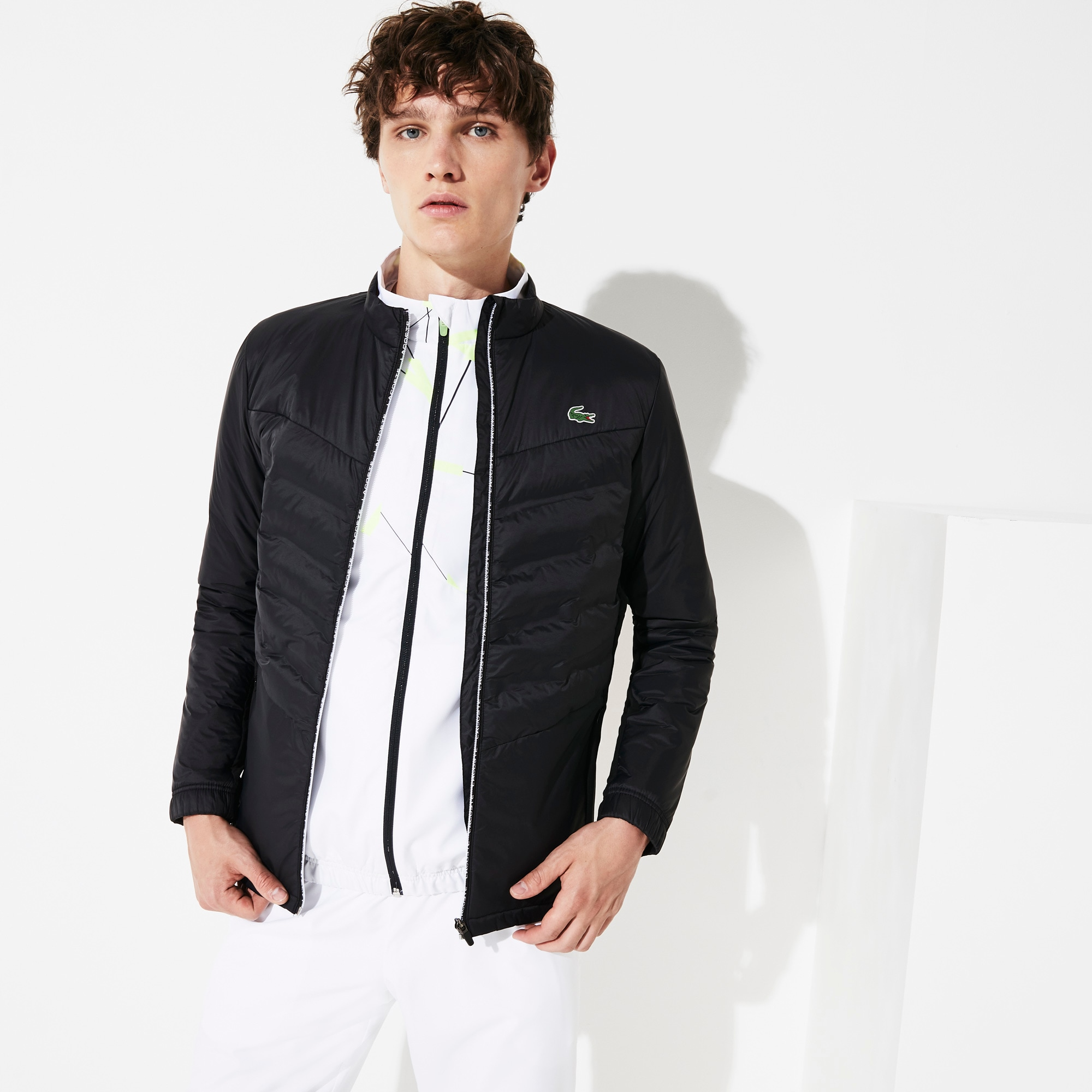 Lacoste Jackets Men's SPORT Quilted Mixed-Material Zip Tennis Jacket