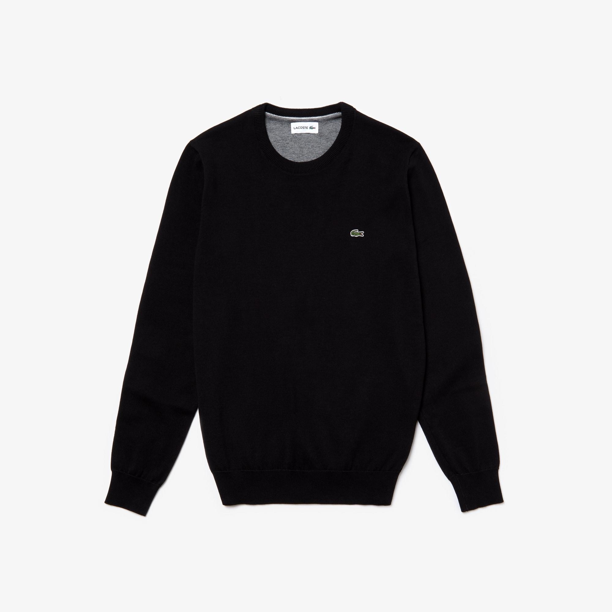 Men's Crew Neck Caviar Piqué Accent Cotton Jersey Sweater