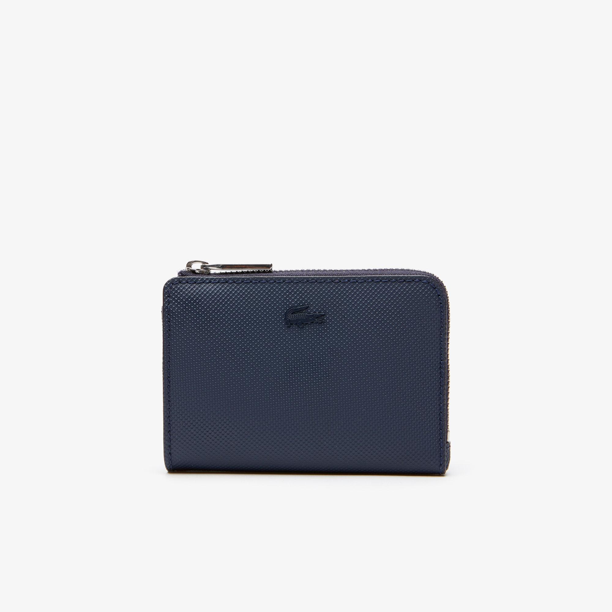 라코스테 Lacoste Mens Classic Petit Pique Zip Card Holder,PEACOAT