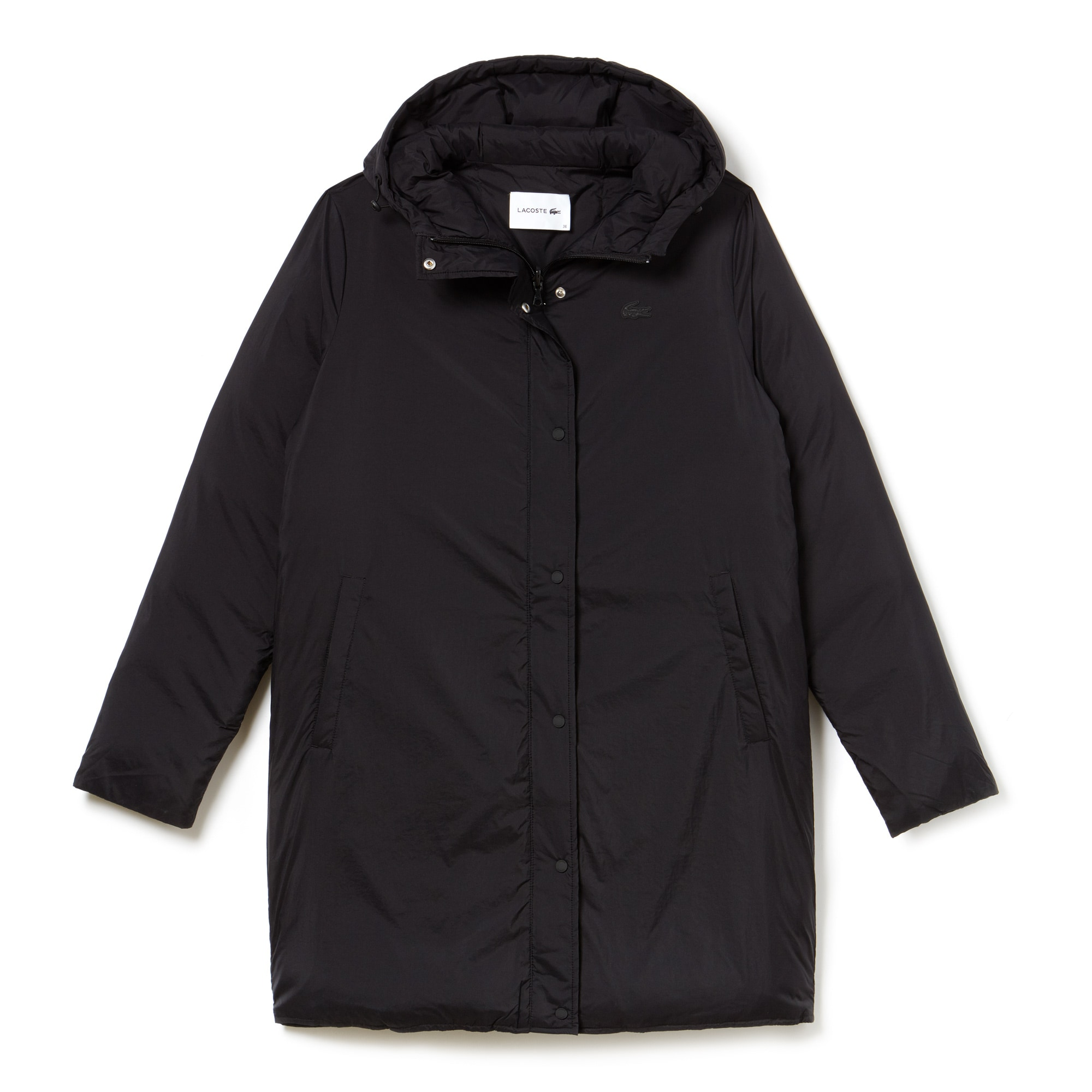 Womens Reversible Hooded Nylon Quilted Jacket Lacoste