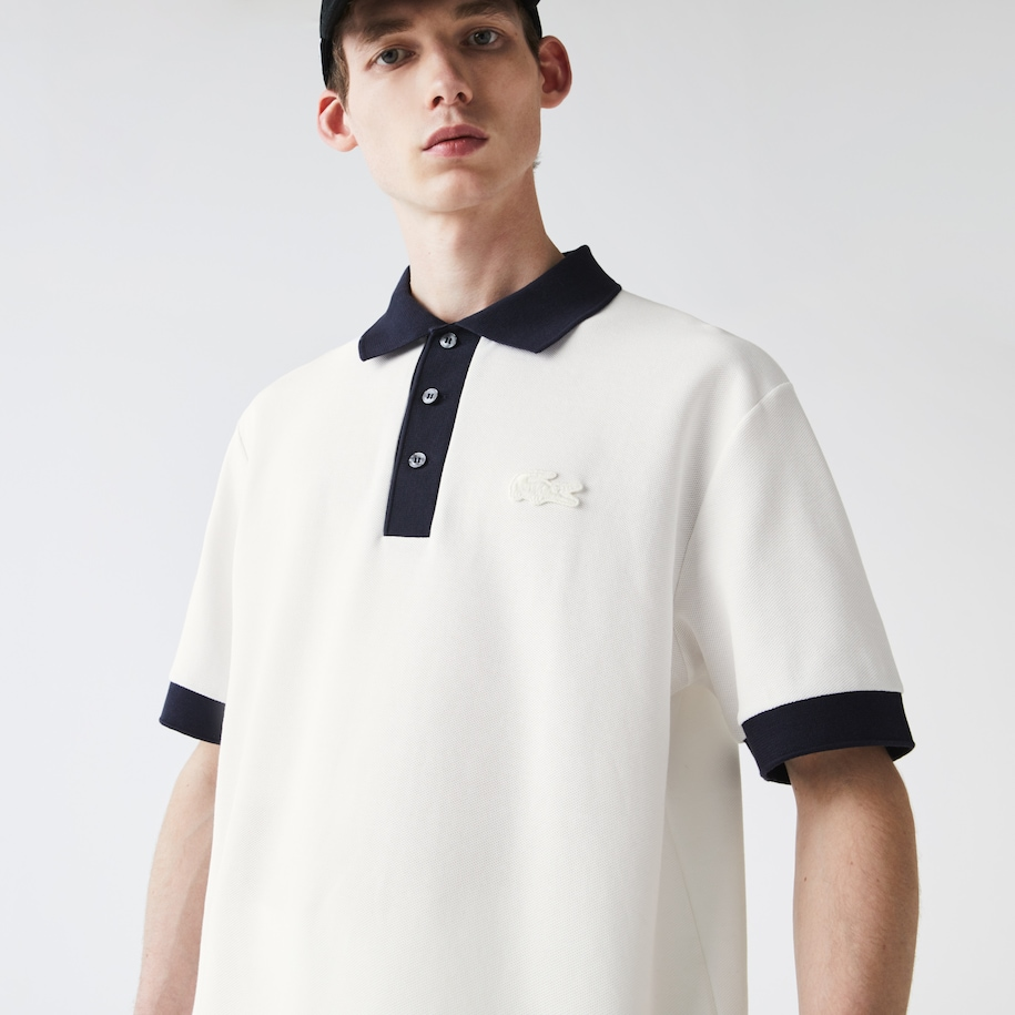 Men's Relaxed Fit Textured Cotton Piqué Polo