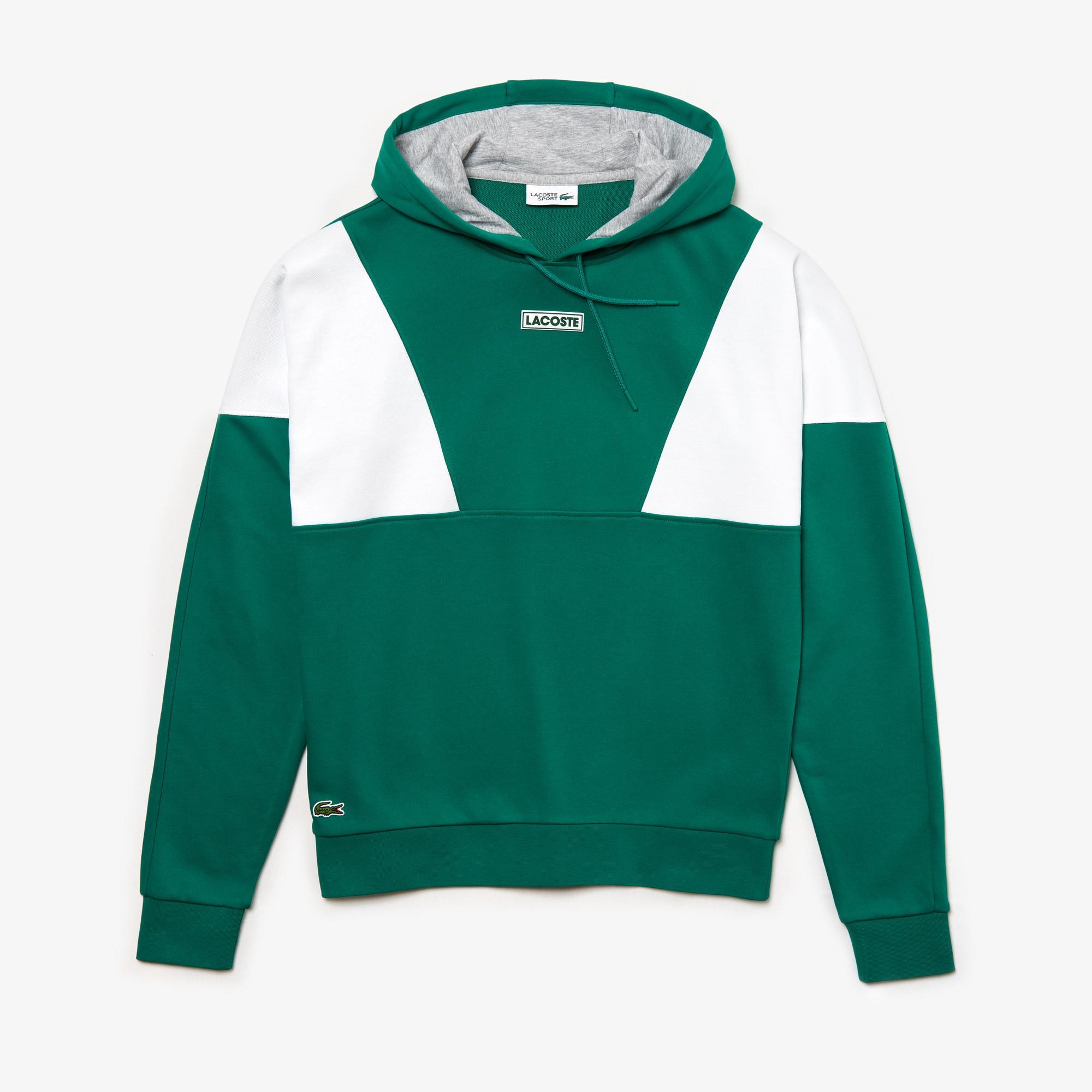 라코스테 스포츠 맨 스웻셔츠  Lacoste Mens SPORT Hooded Fleece Sweatshirt,Green / White / Grey Chine