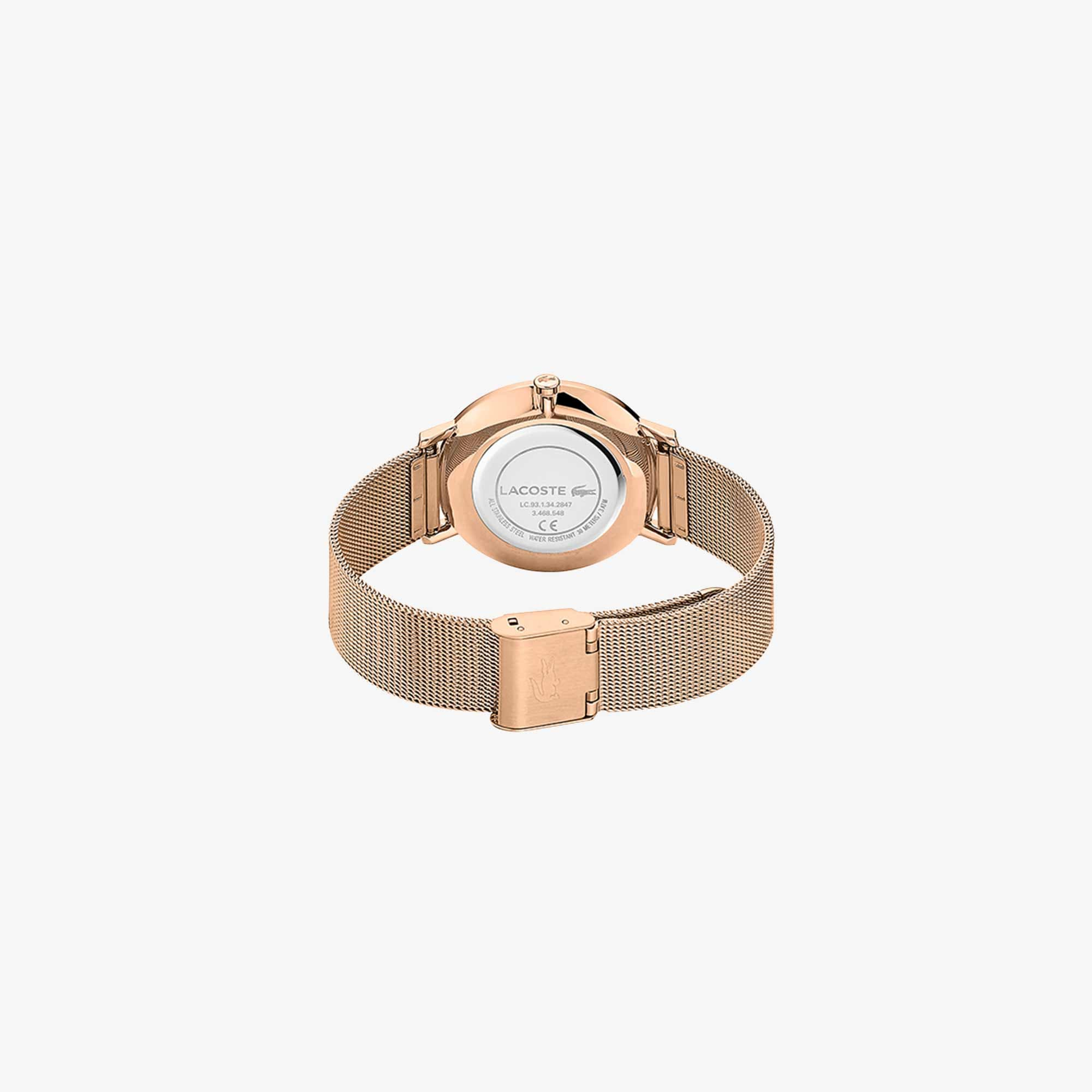 Ladies Moon Watch with Rose Gold Plated Mesh Band Strap