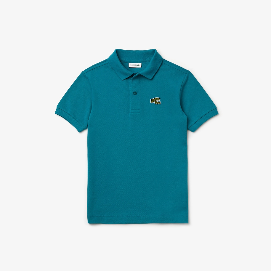 Boys' Stylized Logo Cotton Petit Piqué Polo