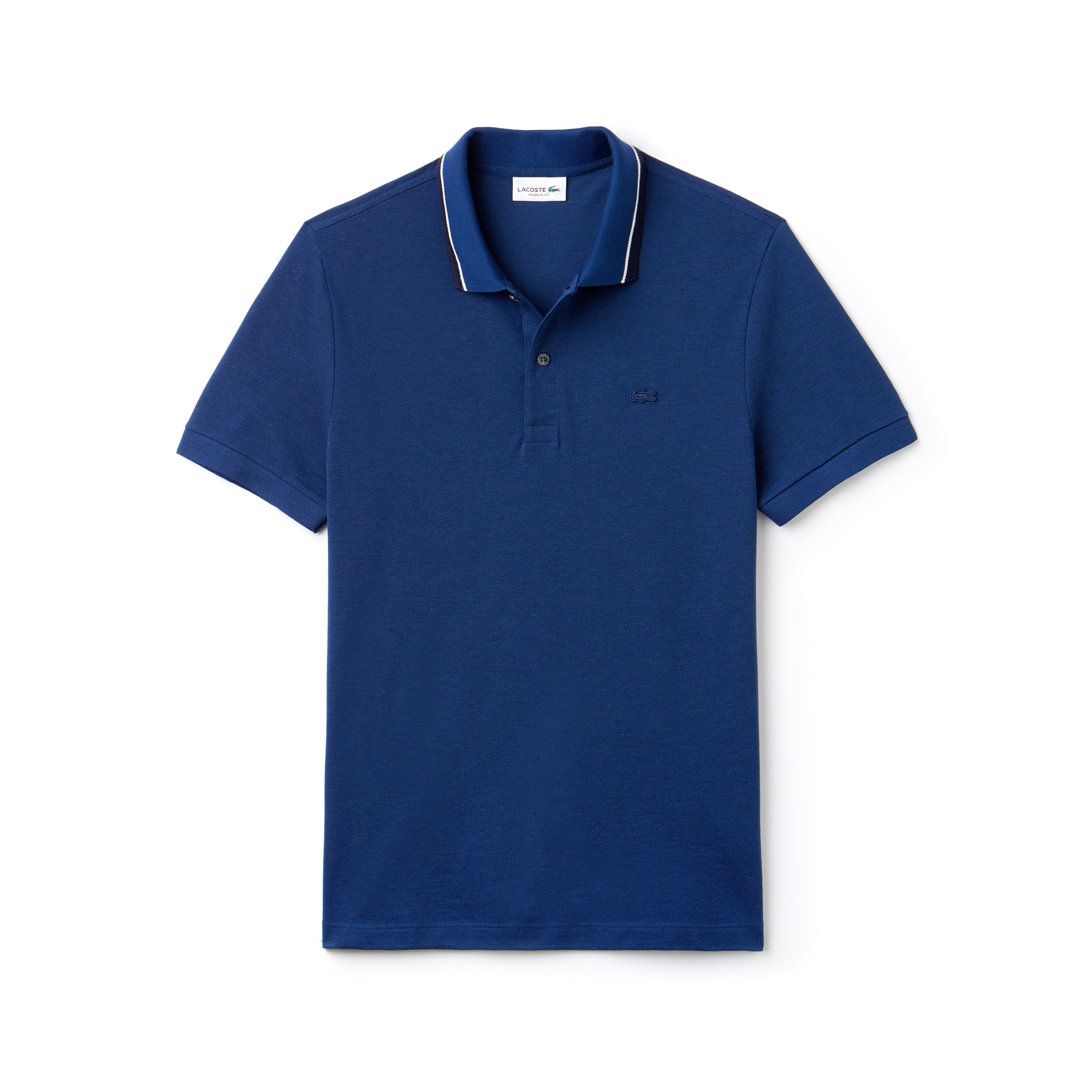 라코스테 Lacoste Mens Regular Fit Piped Neck Flamme Pique Polo,inkwell/navy blue-flour