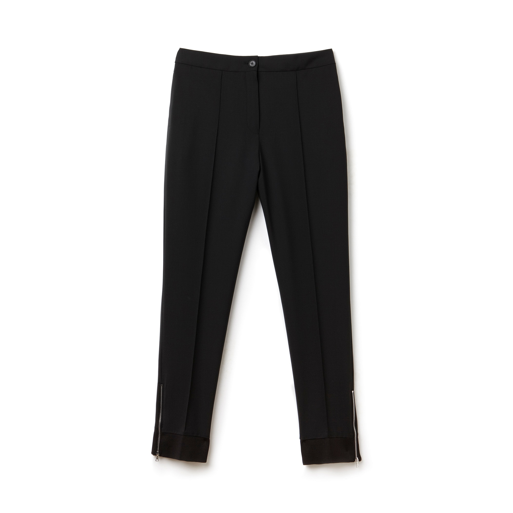 Women's Ribbed Hem Zip Detail Wool Jogger Pants