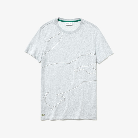 라코스테 스포츠 티셔츠 Lacoste Mens SPORT Crew Neck Tech Jersey T-shirt,Grey Chine / White / Dark Grey / Green