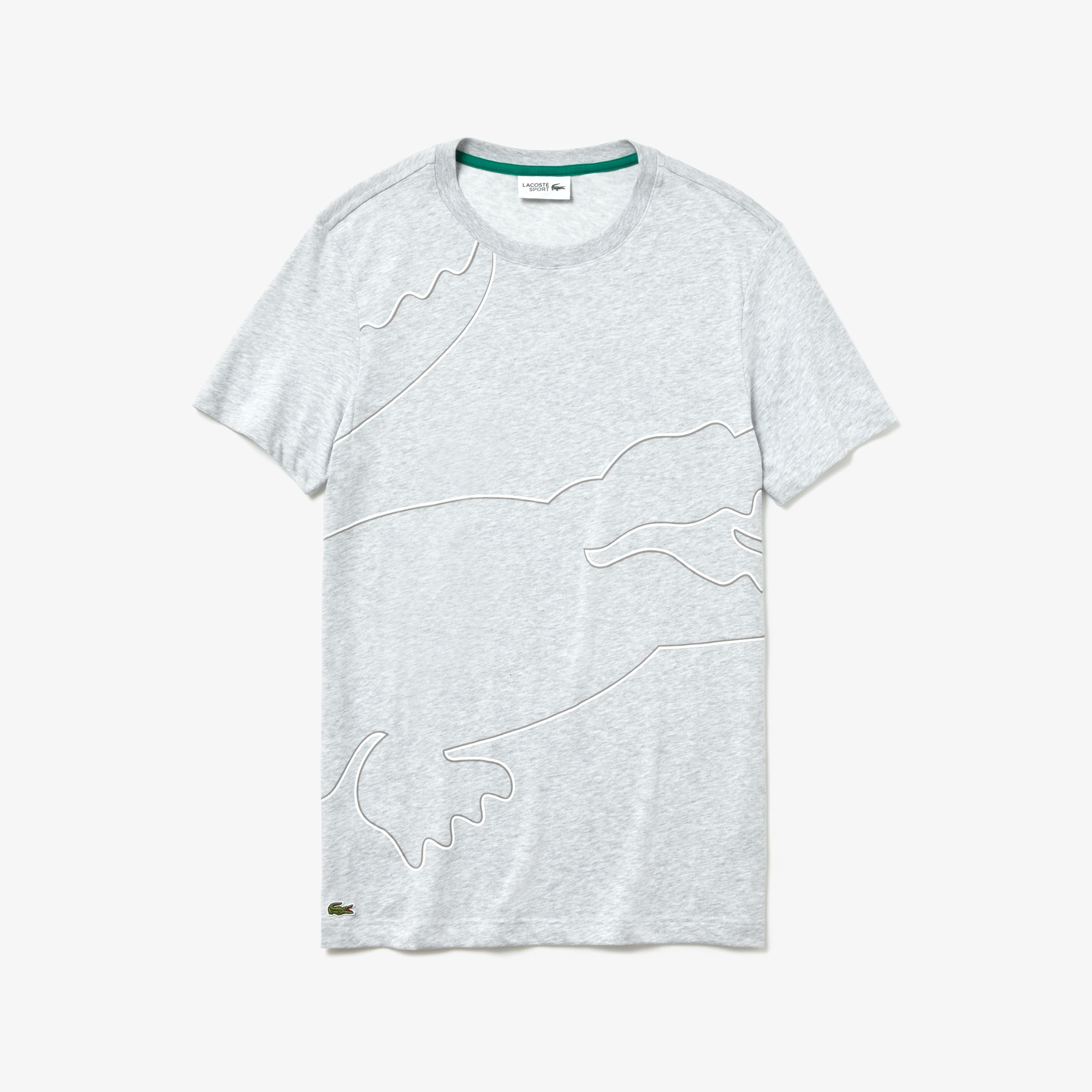 라코스테 Lacoste Mens SPORT Crew Neck Tech Jersey T-shirt,grey chine / white / dark grey / green