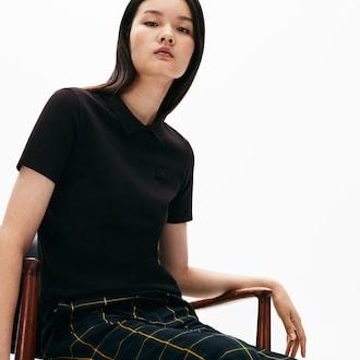 라코스테 우먼 폴로 셔츠 Lacoste Womens LIVE Slim Fit Velvet Croc Stretch Pique Polo Shirt,Black