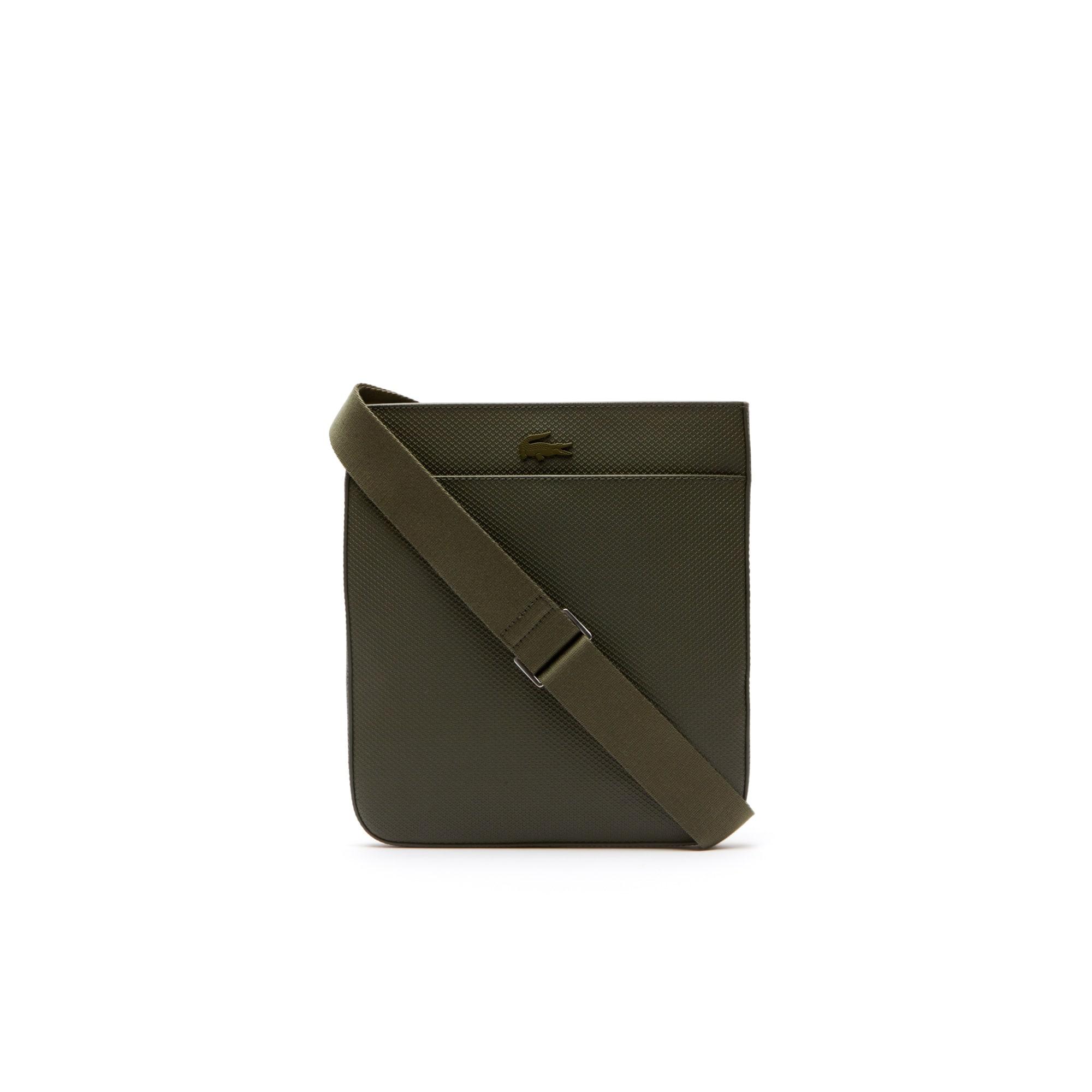 라코스테 Lacoste Mens Chantaco Matte Pique Leather Bag,grape leaf