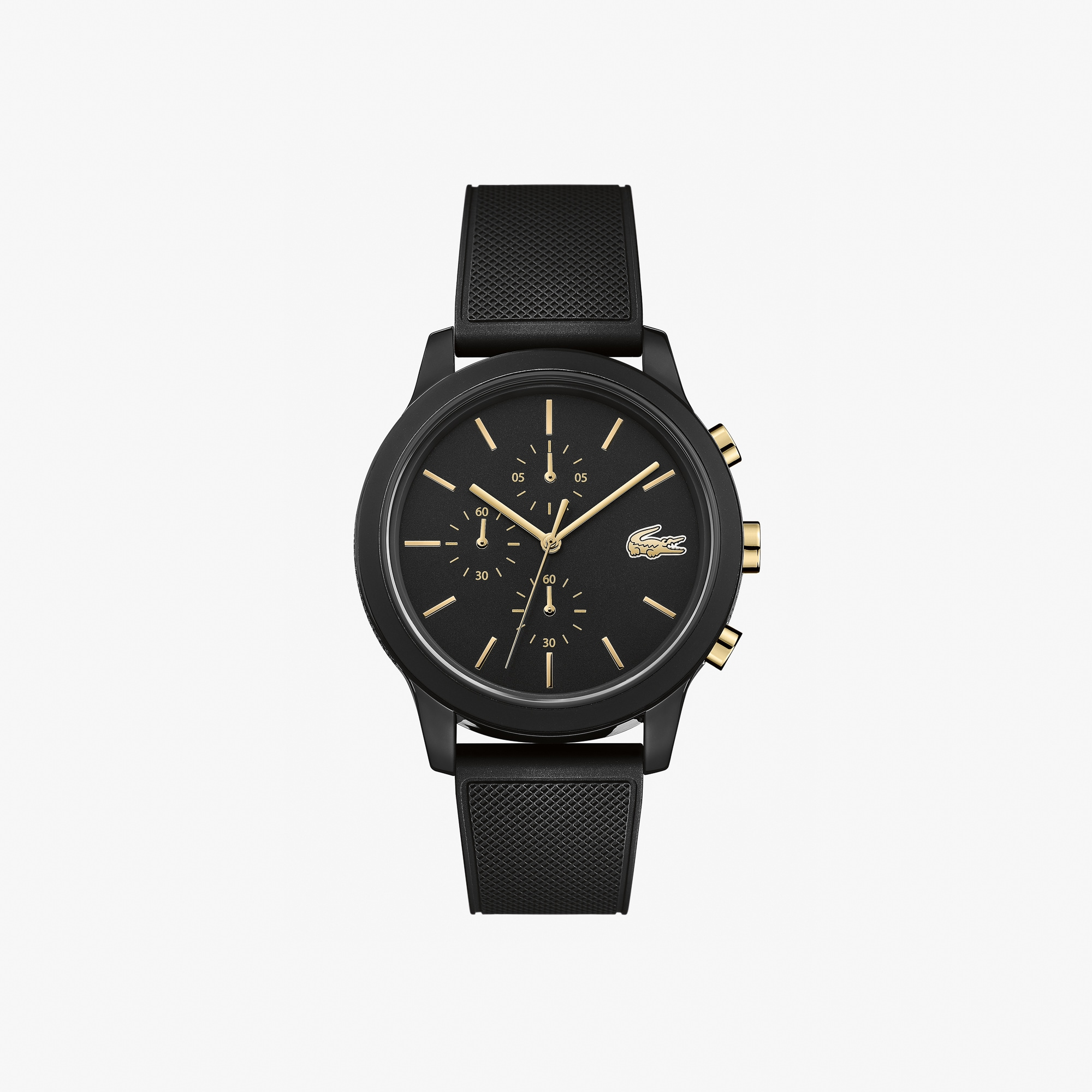 Mens Lacoste.12.12 Watch with Black Silicone Petit Piqué Strap