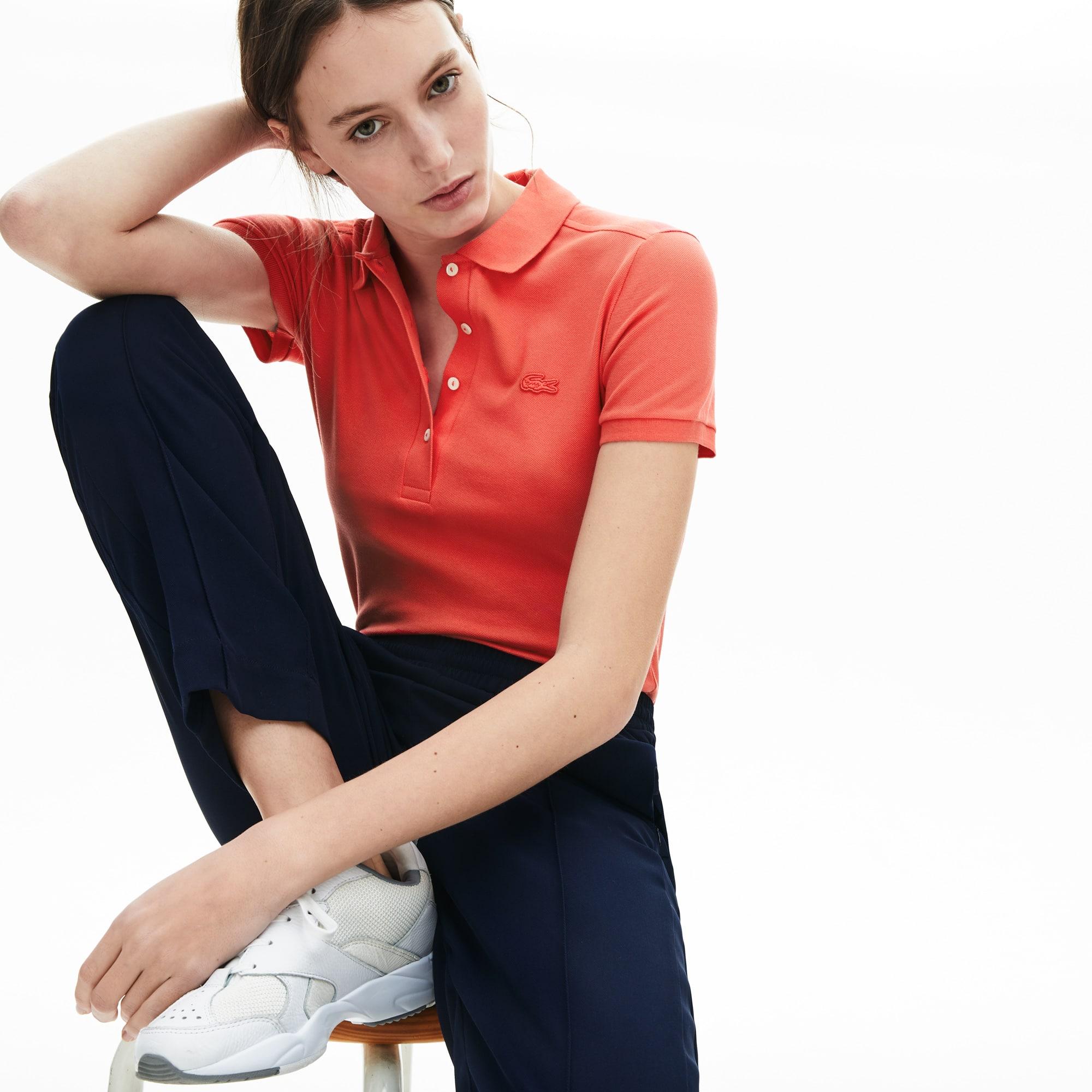 라코스테 Lacoste Womens Stretch Cotton Pique Polo,Red - 4BY