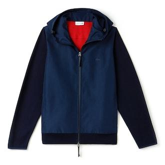 라코스테 Lacoste Mens Motion Hooded Zippered Jersey Sweater