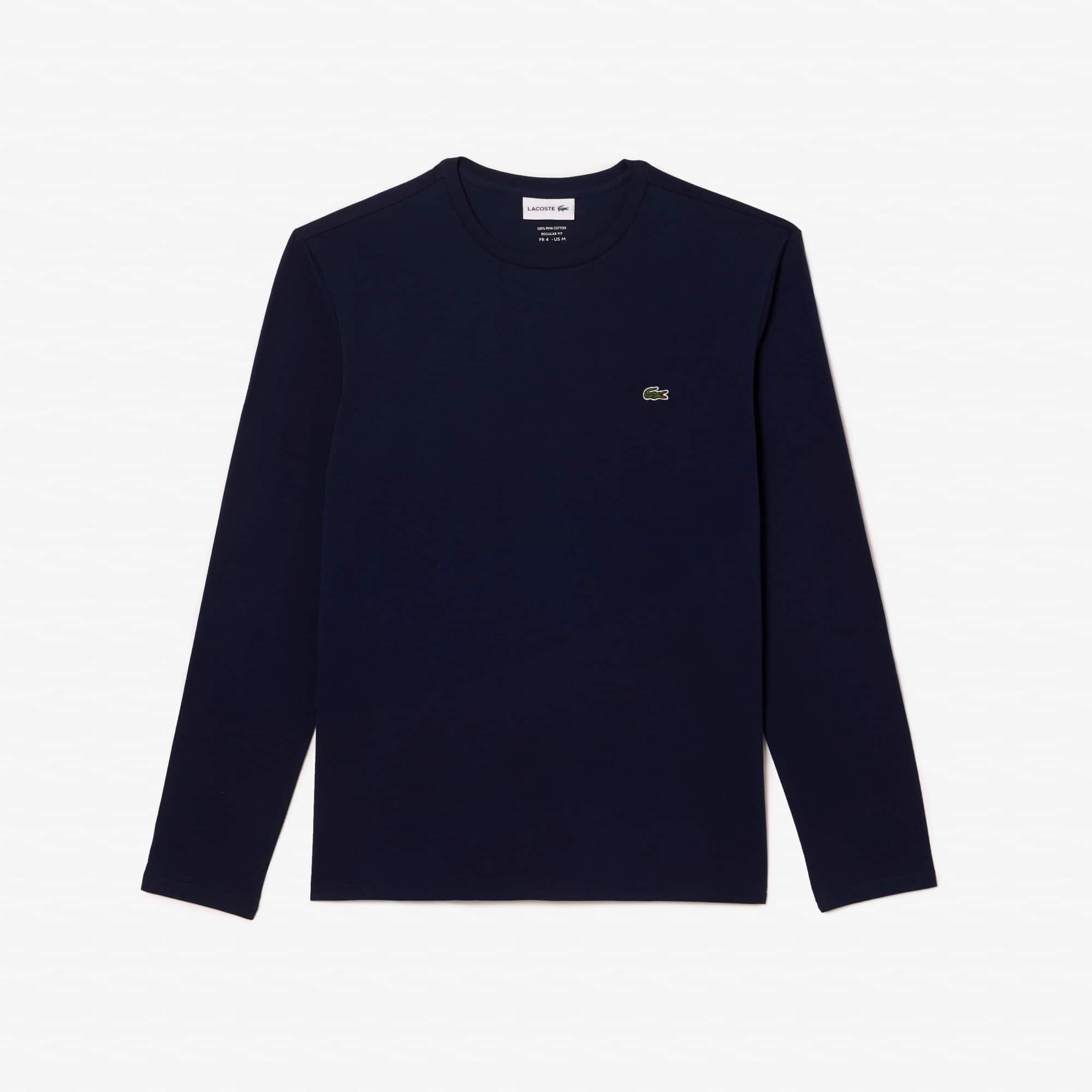 라코스테 긴팔 티셔츠 Lacoste Mens Crew Neck Pima Cotton Jersey T-shirt,navy blue
