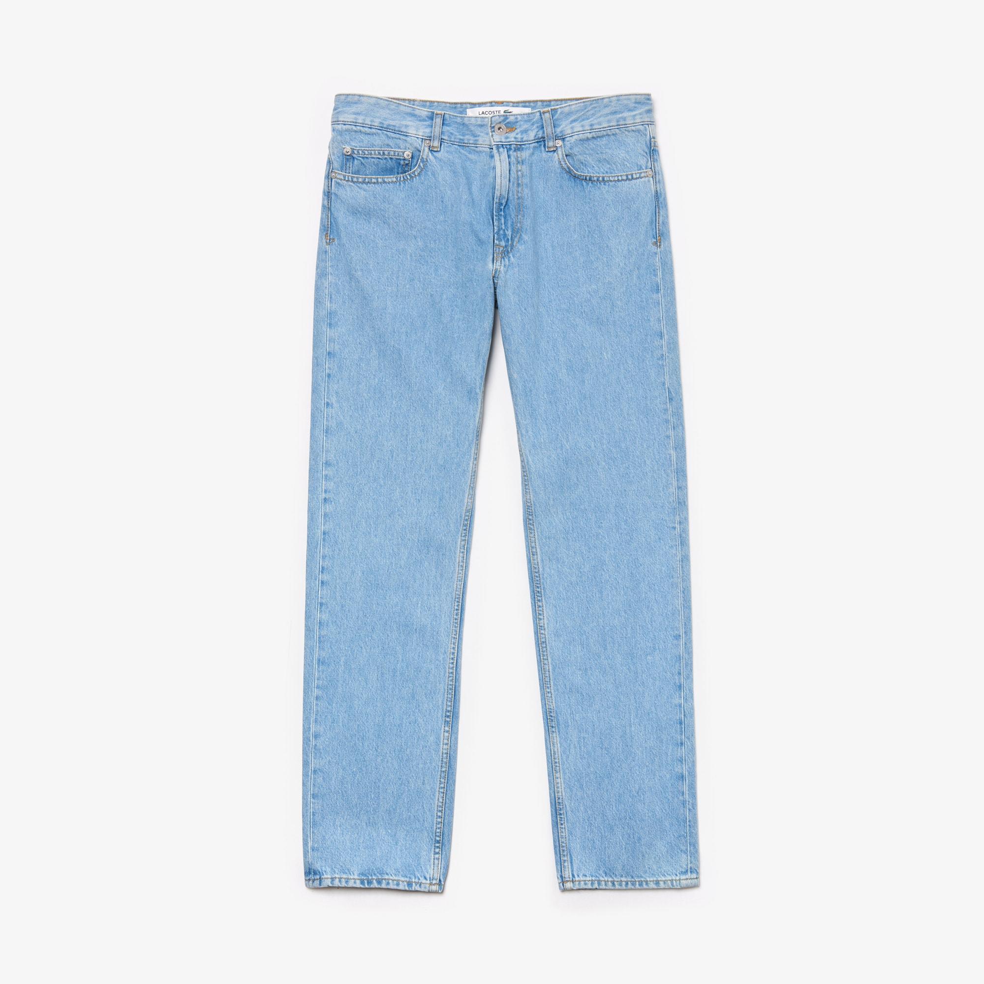라코스테 Lacoste Mens Regular Fit 5-Pocket Jeans,Blue