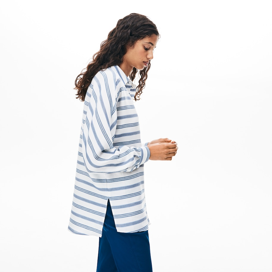 Women's Loose Fit Striped Lightweight Cotton Shirt