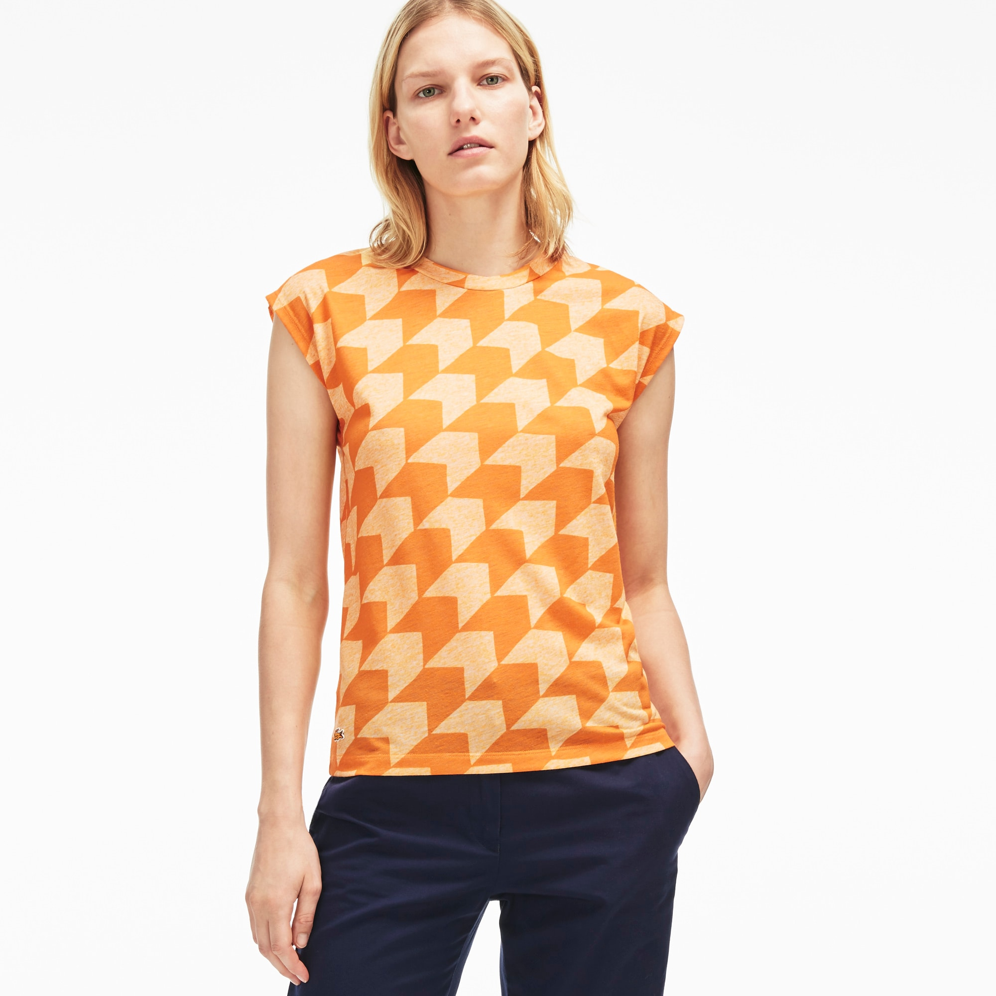 Women's Gingham Striped Jersey Crew Neck T-Shirt