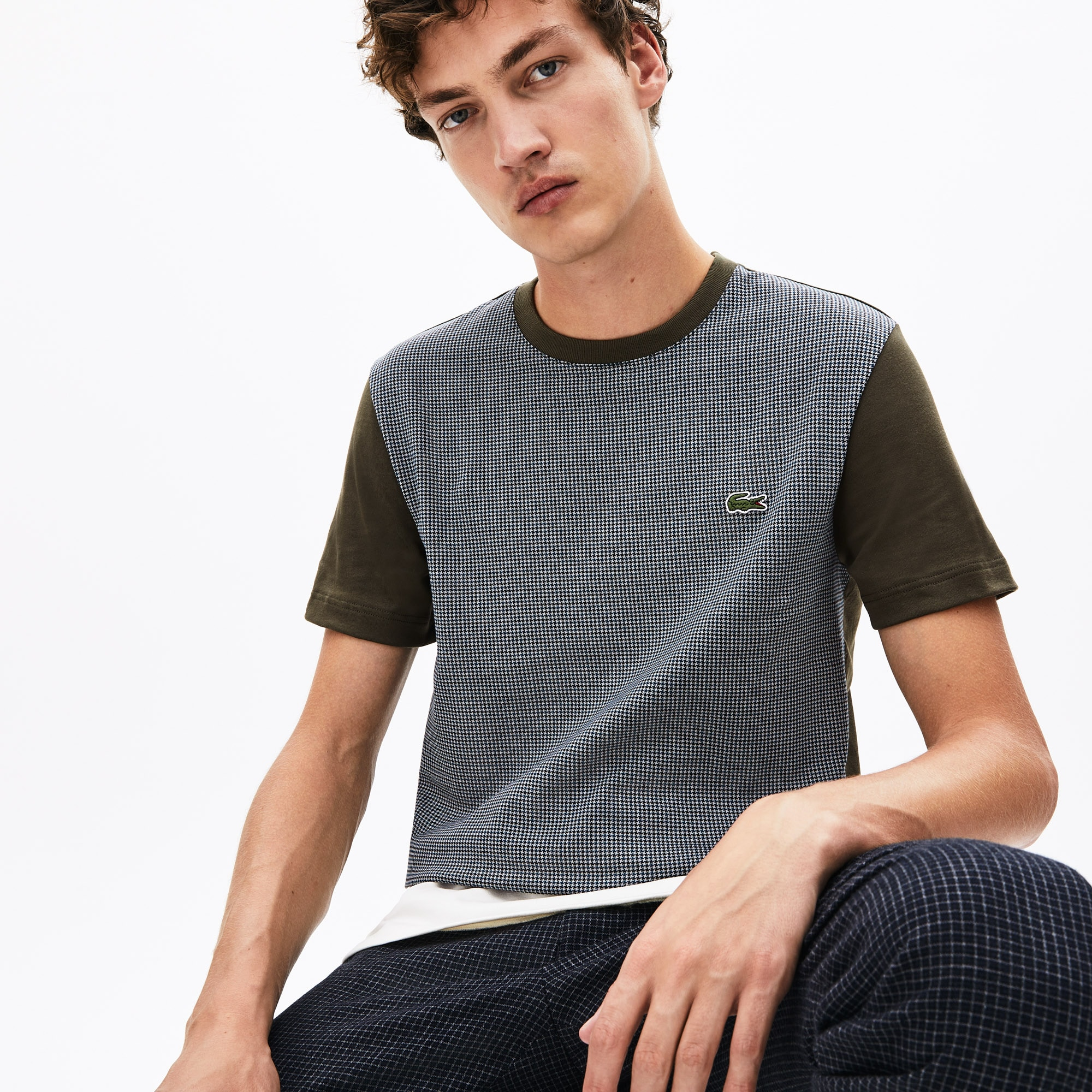 Lacoste Tops Men's Crewneck Print-Blocked Cotton T-Shirt