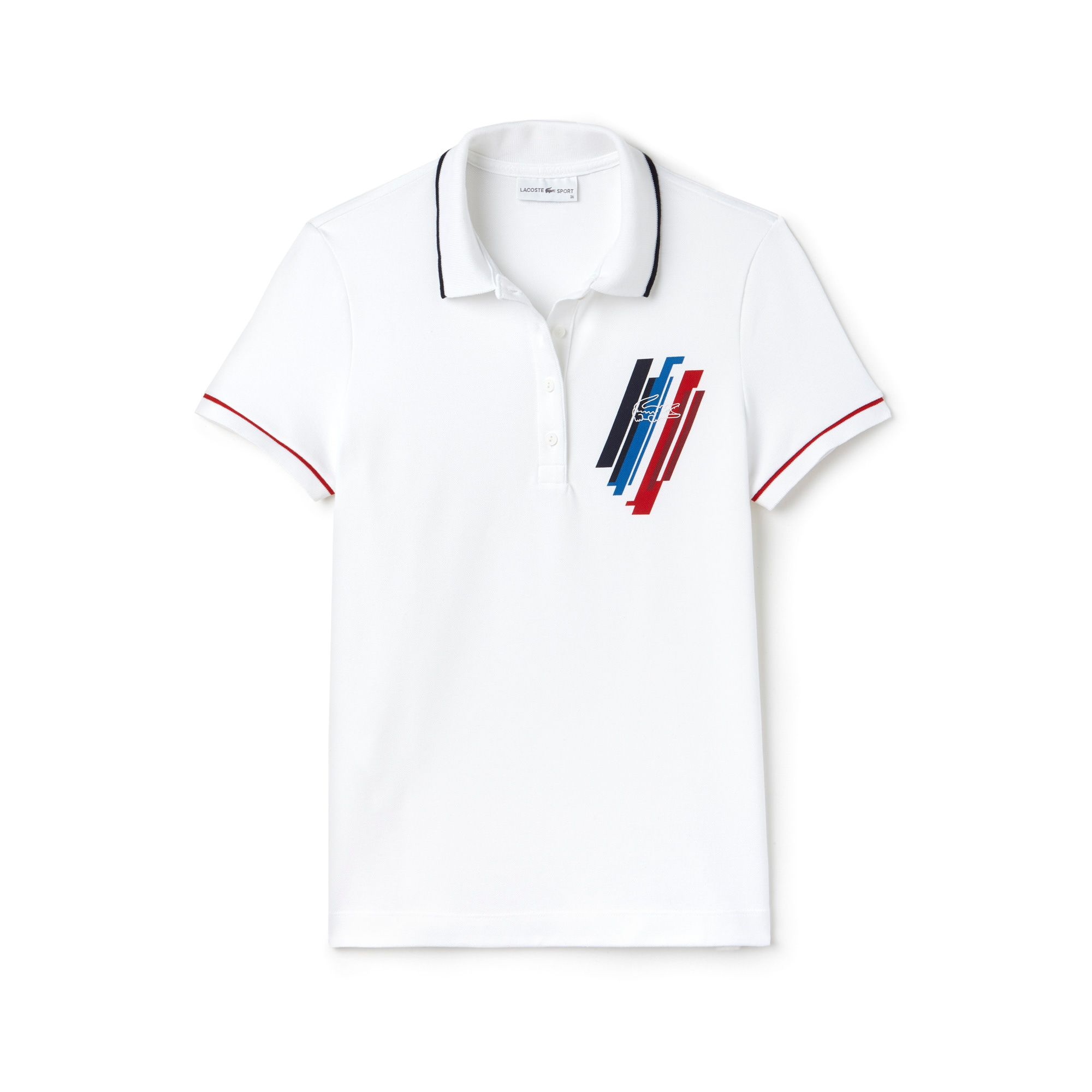 라코스테 Lacoste Womens Tricolor Collection Stretch Mini Pique Polo,White / Navy Blue / Red