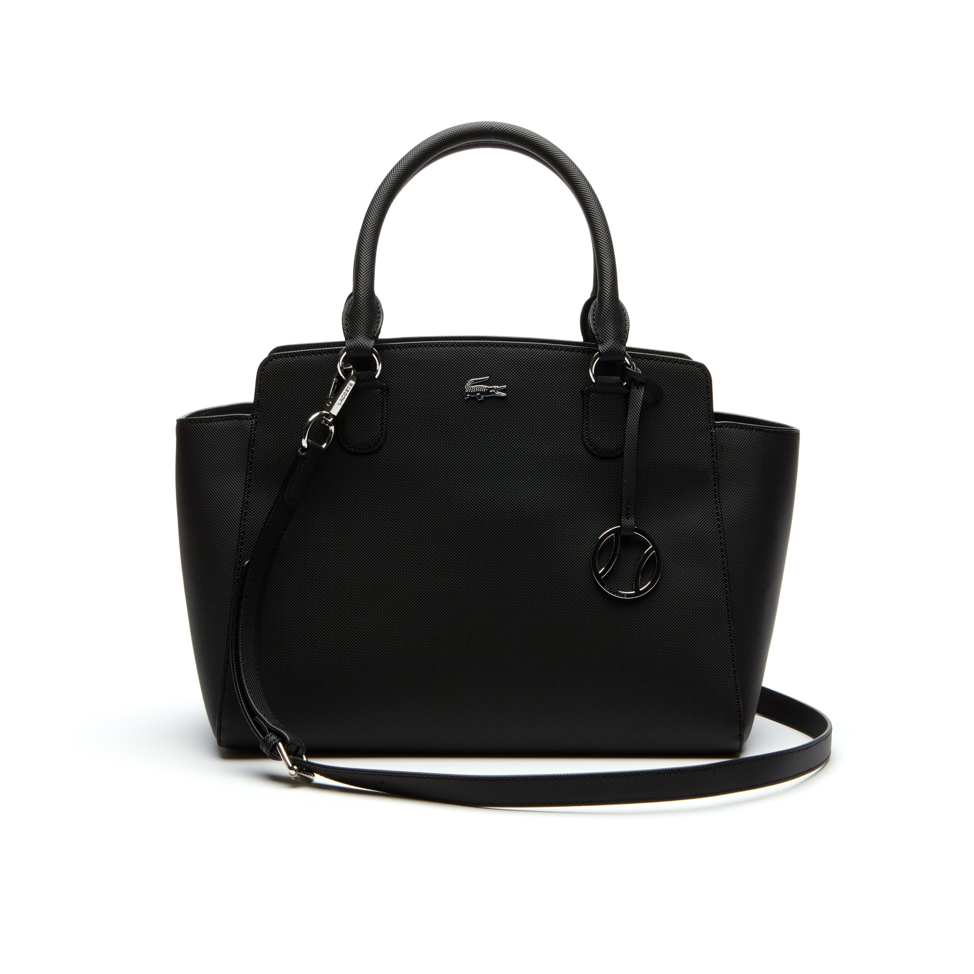 c29750d1a468 Lacoste Women S Daily Classic Gusseted Coated PiquÉ Canvas Tote Bag In Black