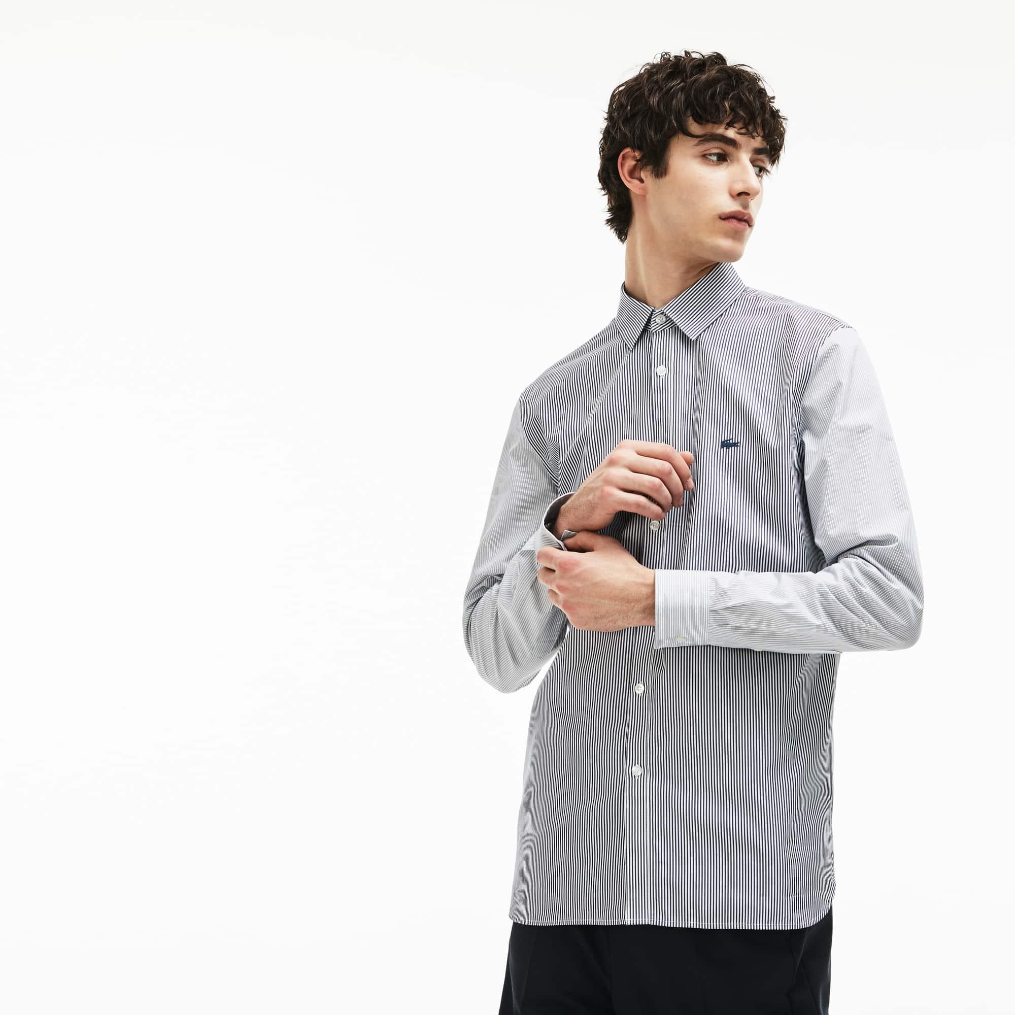 Men's Regular Fit Striped Patchwork Effect Cotton Poplin Shirt