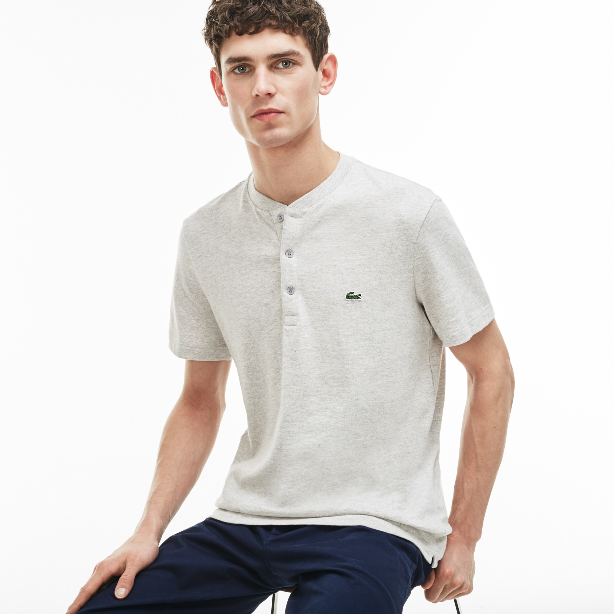 Men's Buttoned Jersey T-shirt