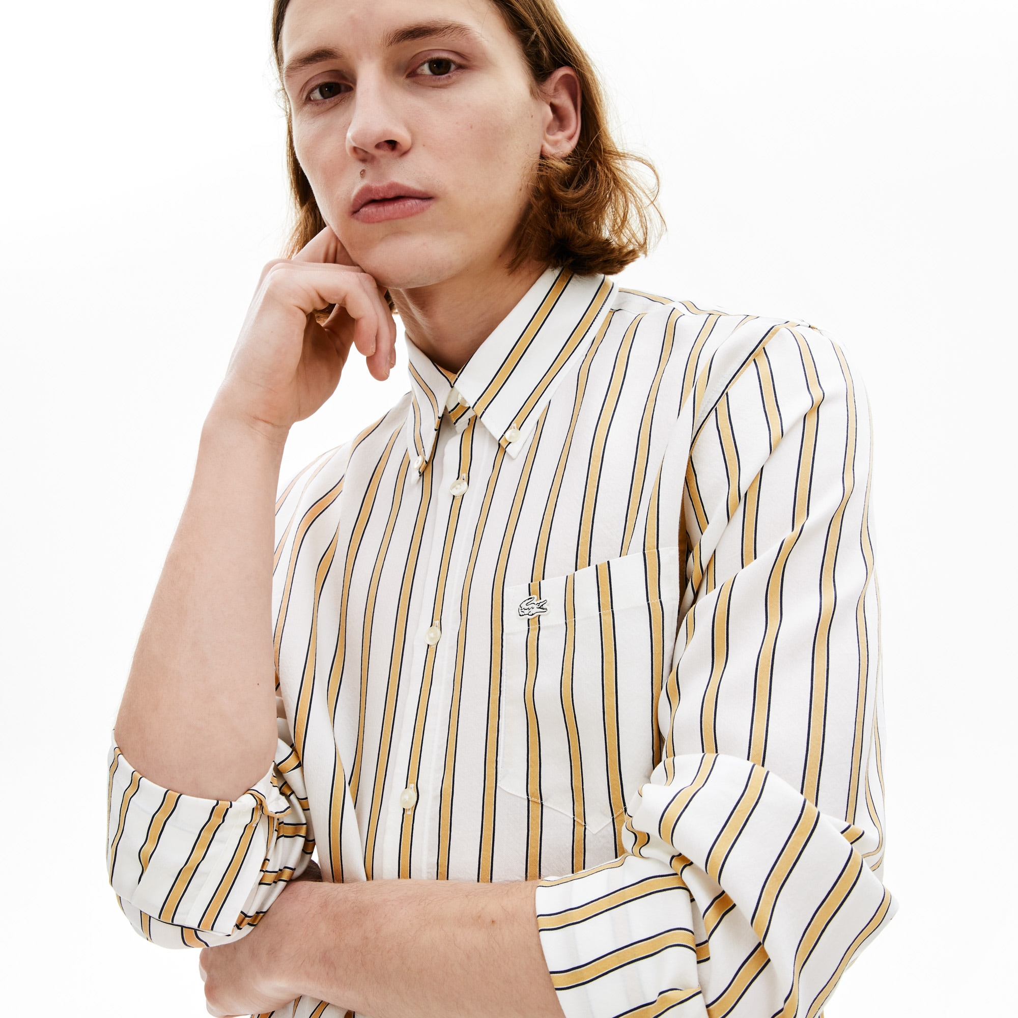 라코스테 Lacoste Mens Lightweight Striped Shirt