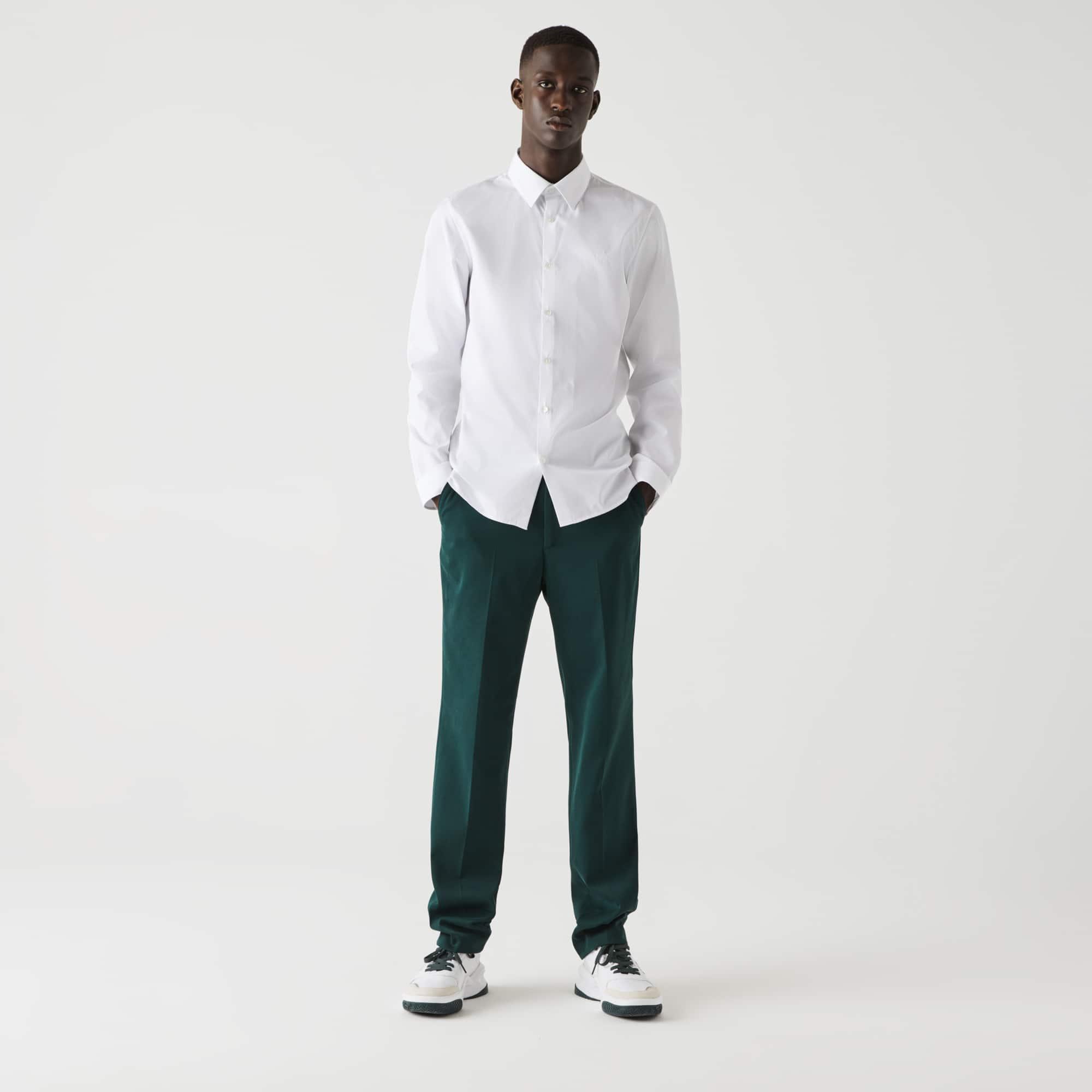 라코스테 맨 슬림핏 코튼 포플린 셔츠 Lacoste Mens Slim Fit Cotton Poplin Shirt,White 001