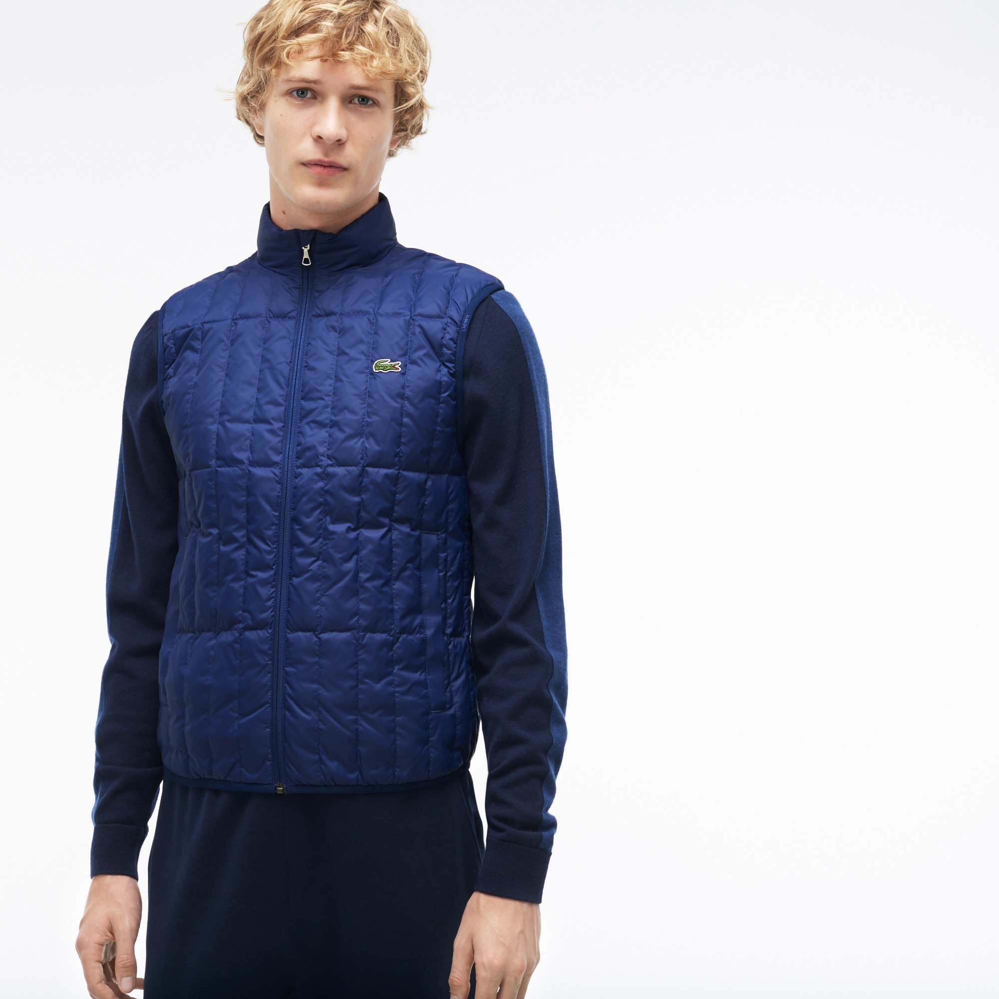bf72a3299 Lacoste Men S Lightweight Built-In Hood Quilted Down Packable Vest In Navy  Blue