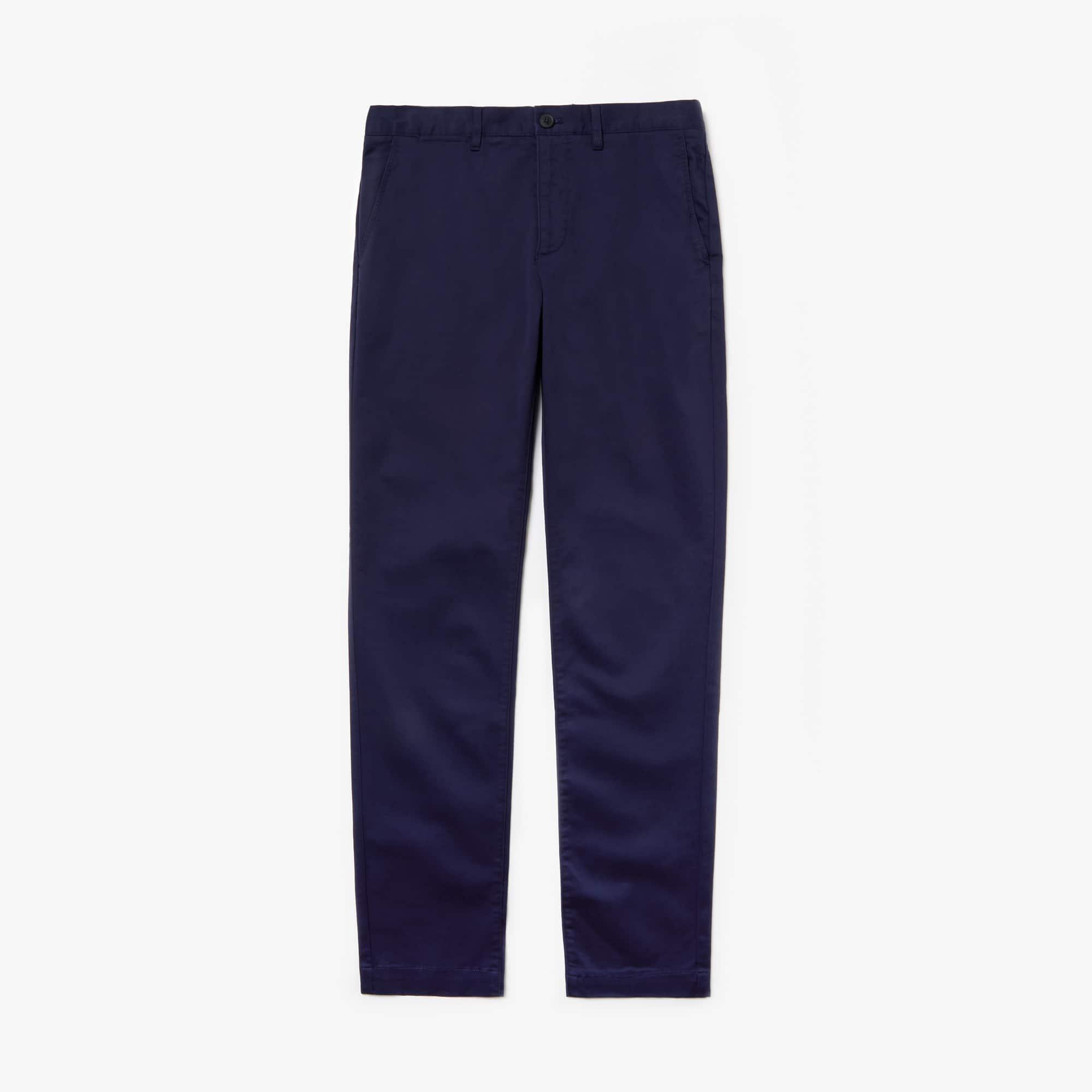 라코스테 Lacoste Mens Regular Fit Cotton Gabardine Chino Pants,navy blue