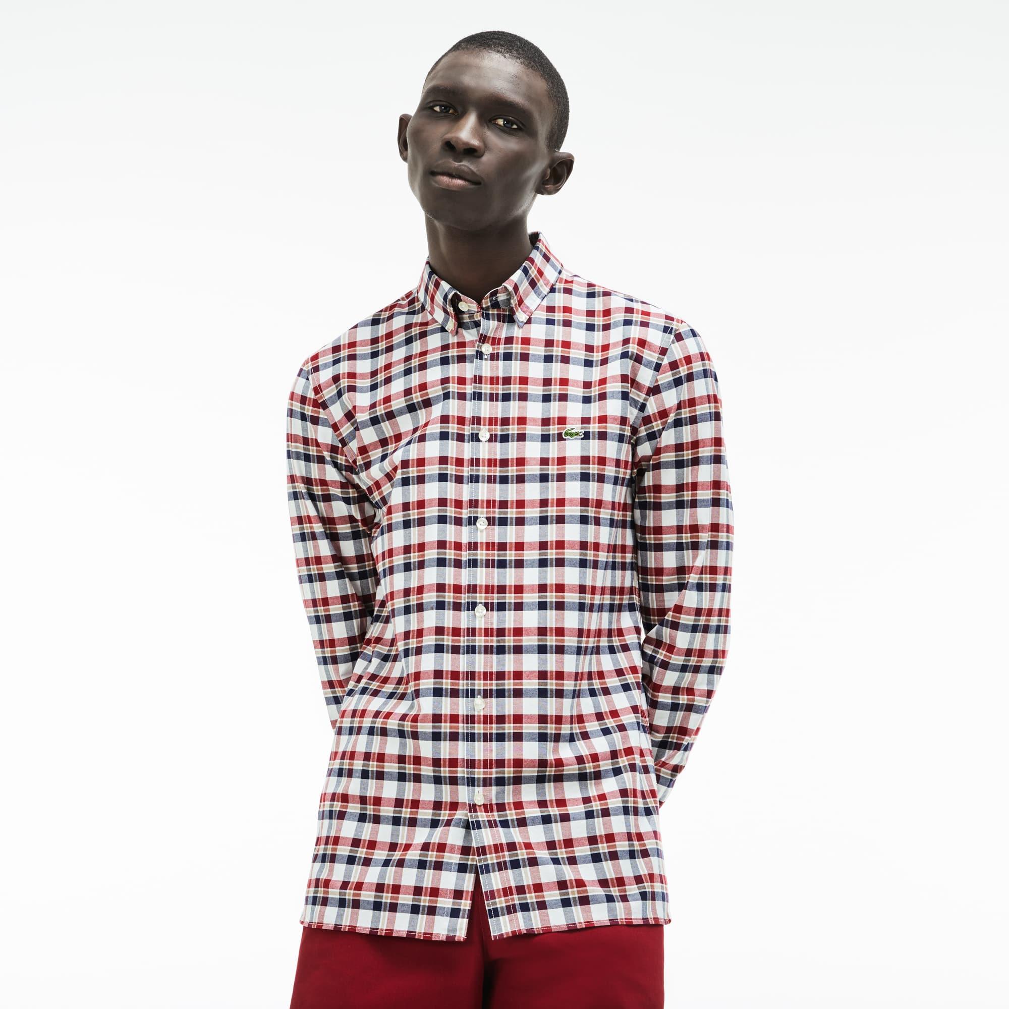 Men's Slim Fit Check Stretch Cotton Oxford Shirt