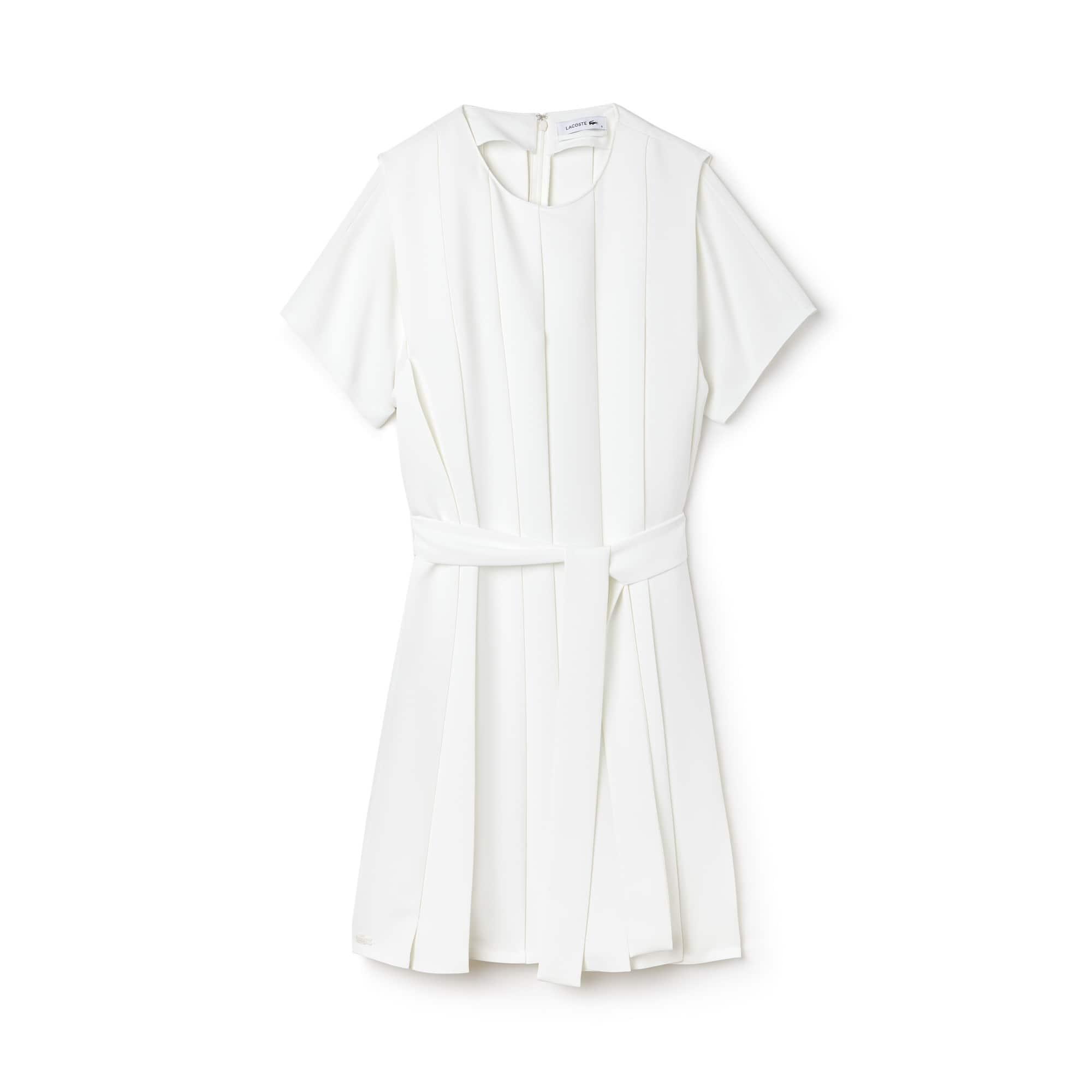 라코스테 Lacoste Womens Pleated Crepe Dress,CAKE FLOUR WHITE