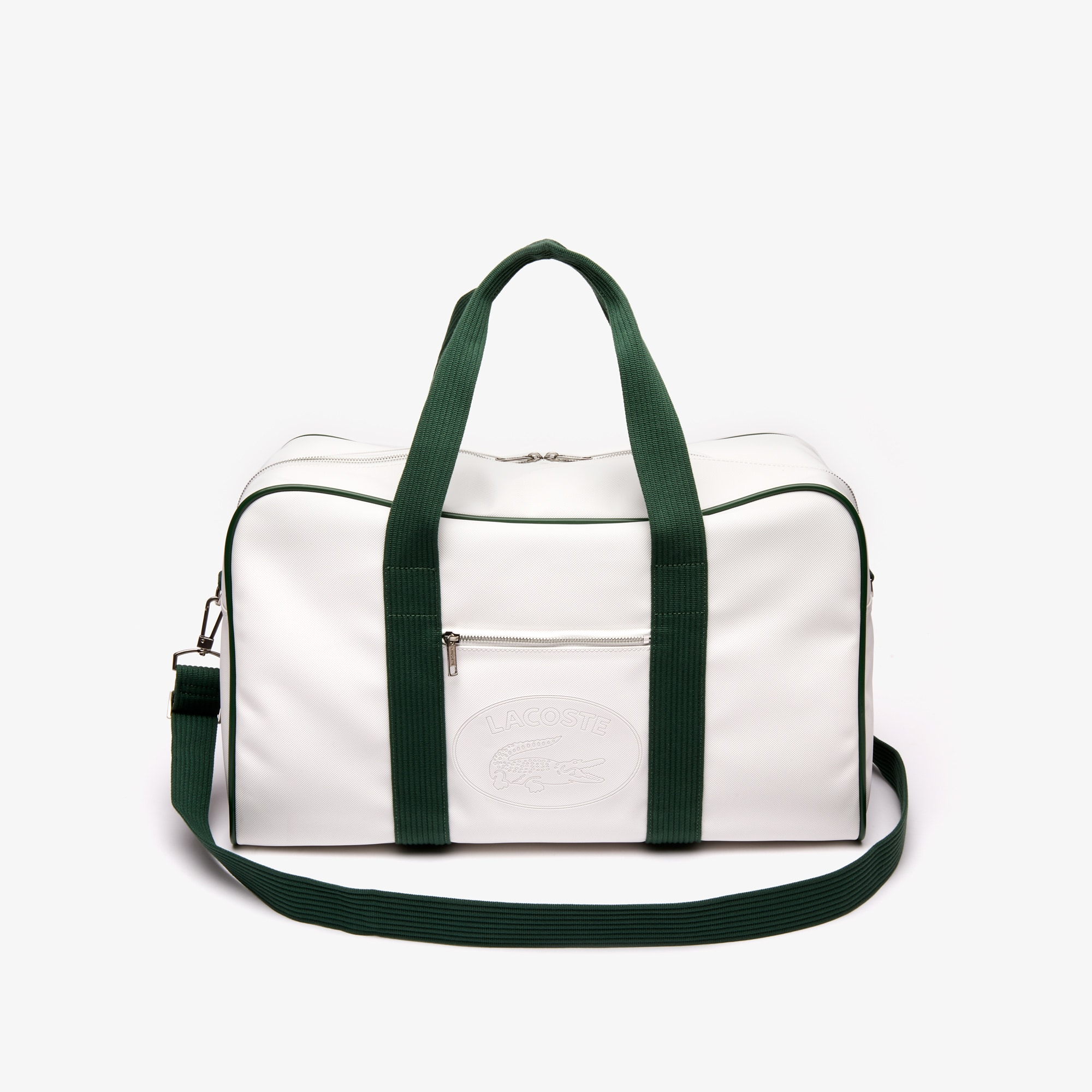 라코스테 Lacoste Mens 1930s Original Weekend Bag,WHITE GREEN