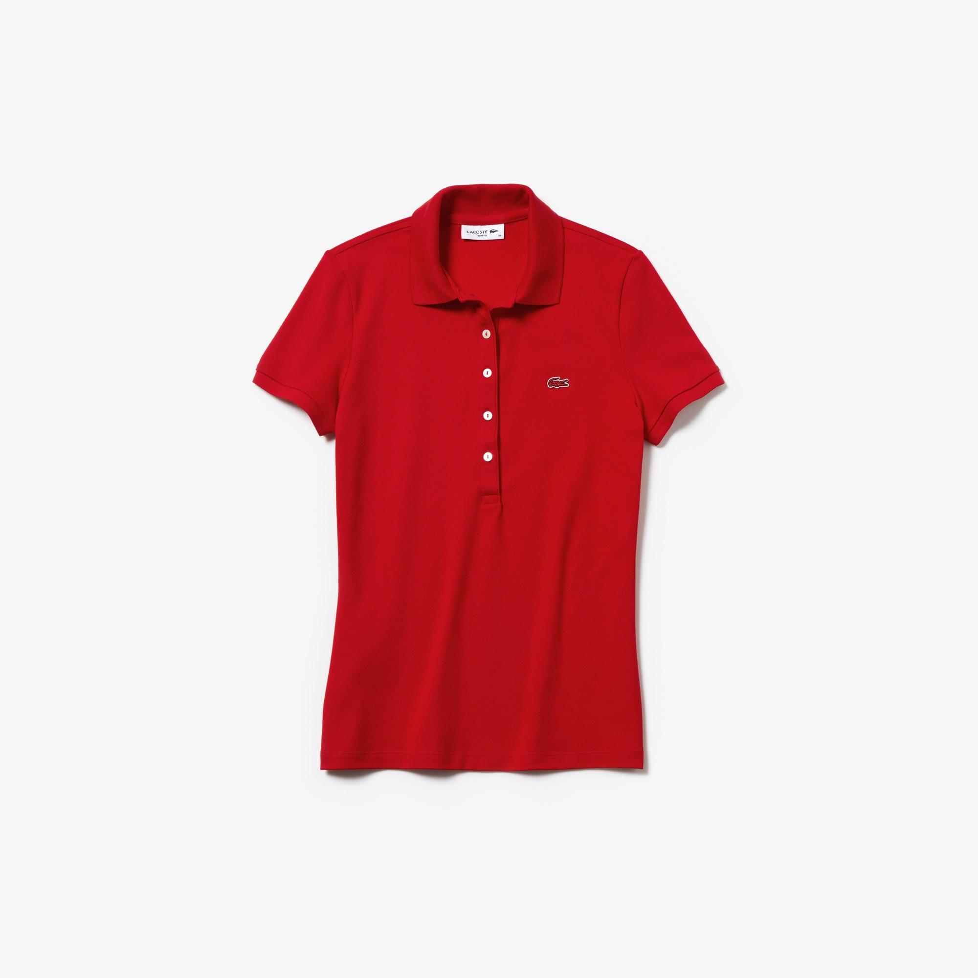 라코스테 Lacoste Womens Slim Fit Stretch Mini Cotton Pique Polo Shirt,red