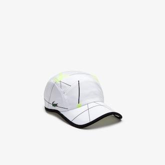 라코스테 스포츠 모자 Lacoste Mens SPORT Geometric Print Tennis Cap,White / Black / Flashy Yellow - 4ZX (Selected colo