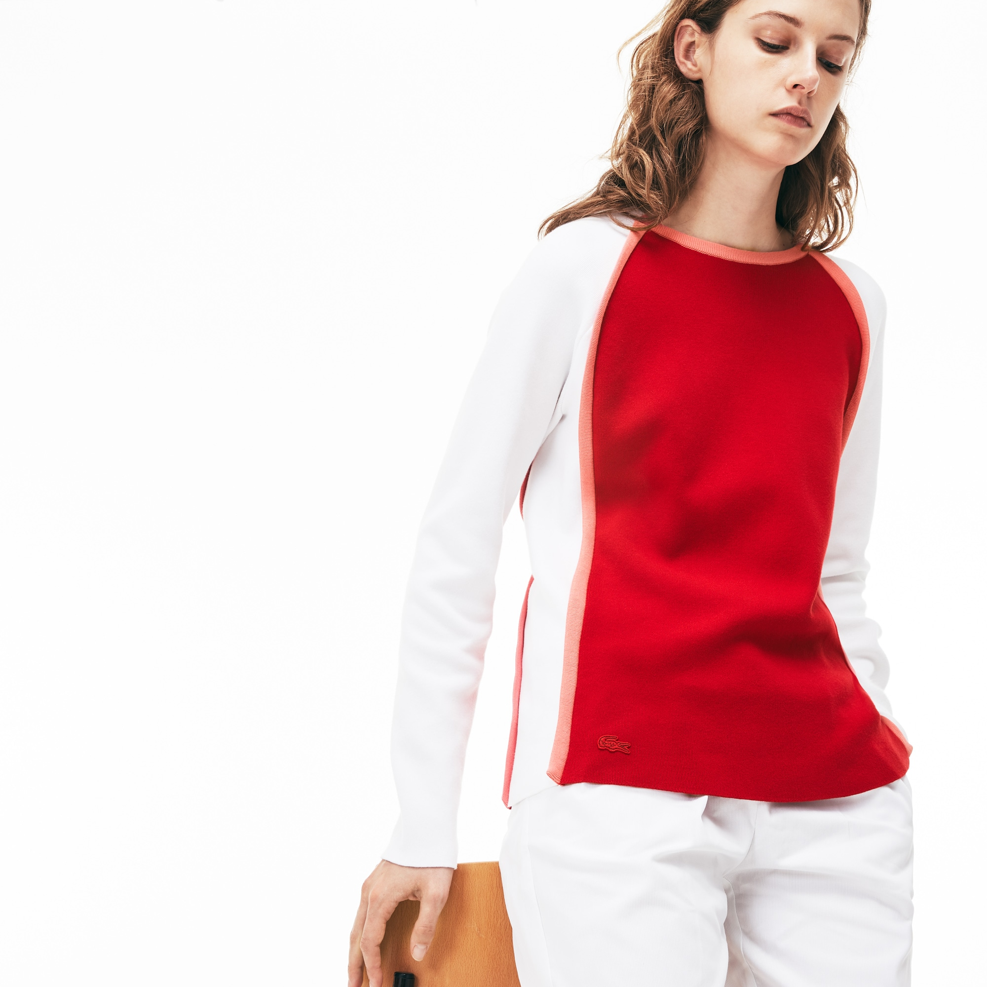 Women's Made in France Crew Neck Colorblock Interlock Sweater