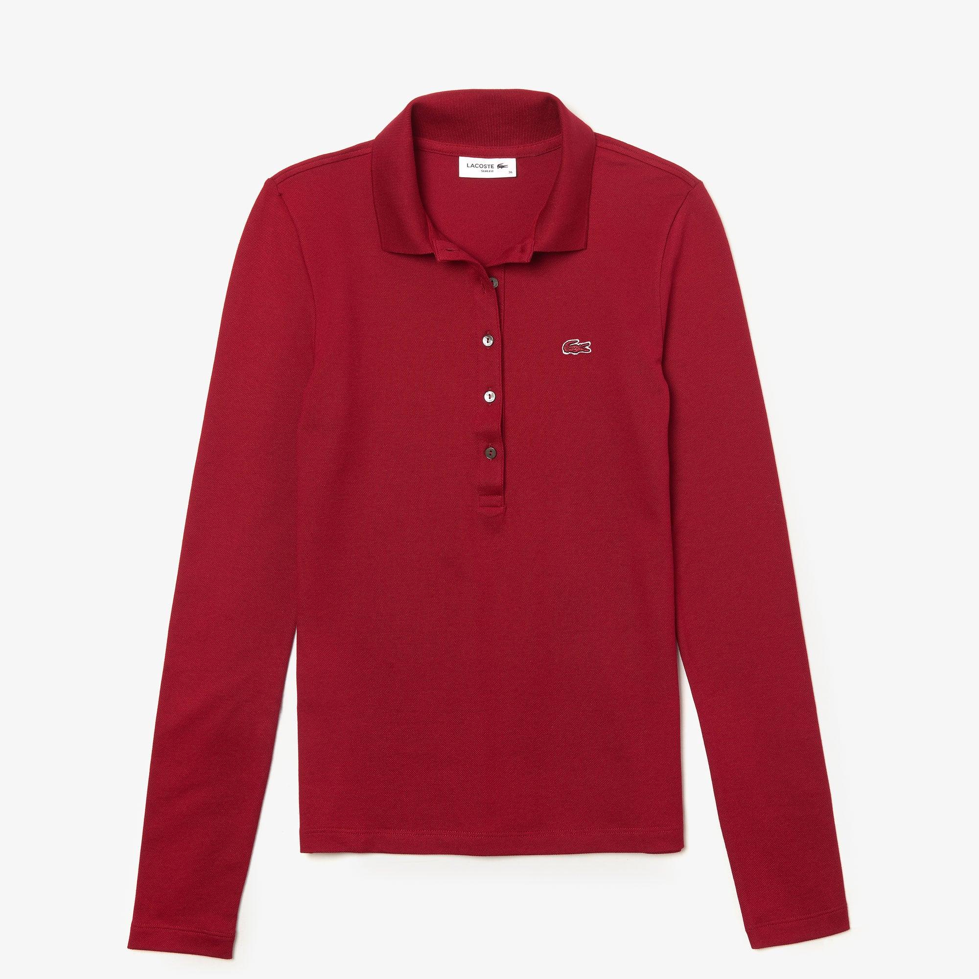 라코스테 긴팔 카라티 Lacoste Womens Slim Fit Stretch Mini Pique Polo Shirt,bordeaux