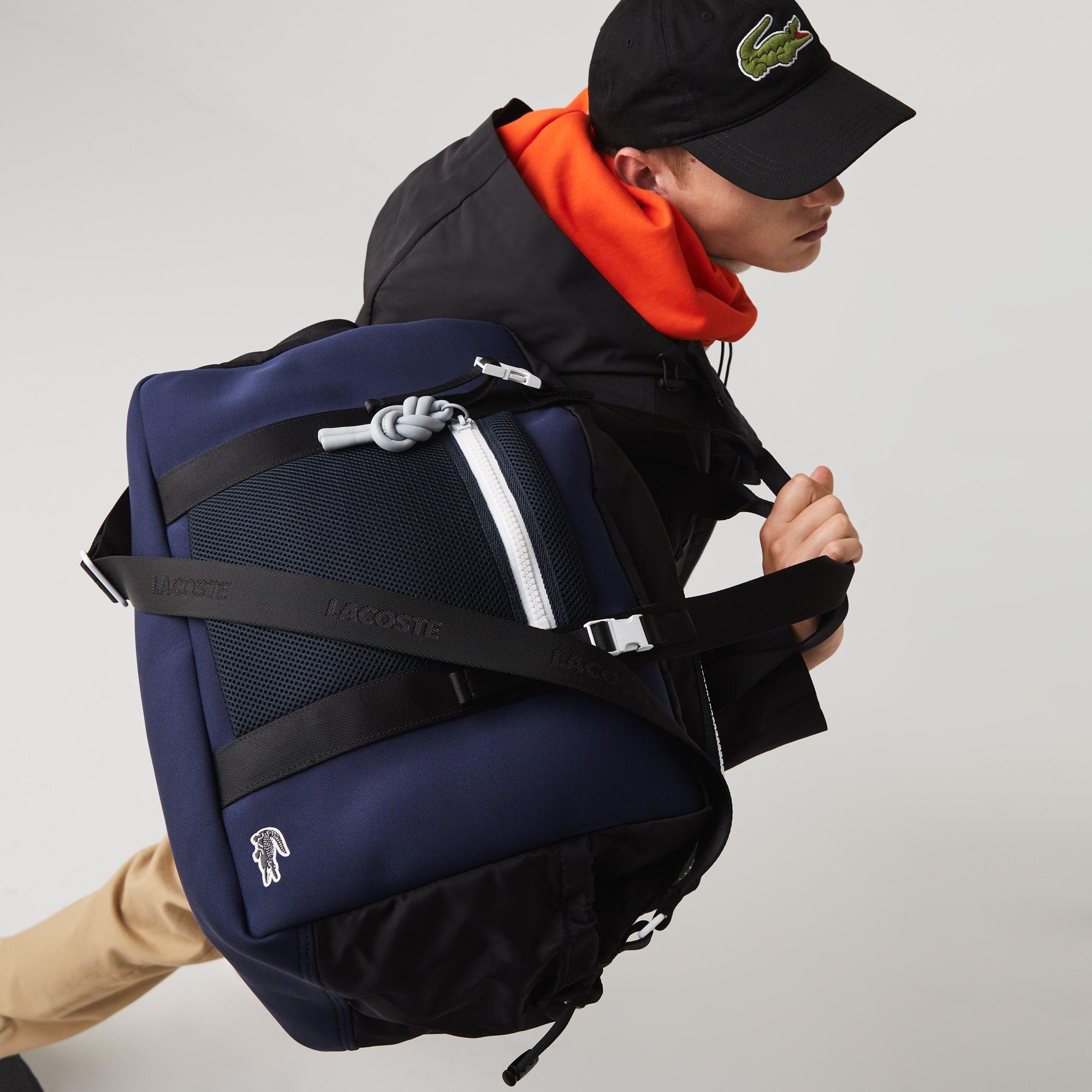 라코스테 Lacoste Mens Motion Ultra-Light Zippered Gym Bag,NOIR ECLIPSE BLANC F97