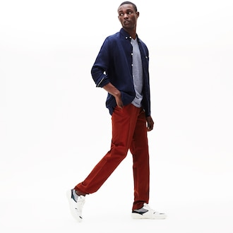 라코스테 Lacoste Mens Regular Fit Cotton Gabardine Chino Pants,Brown - AFS